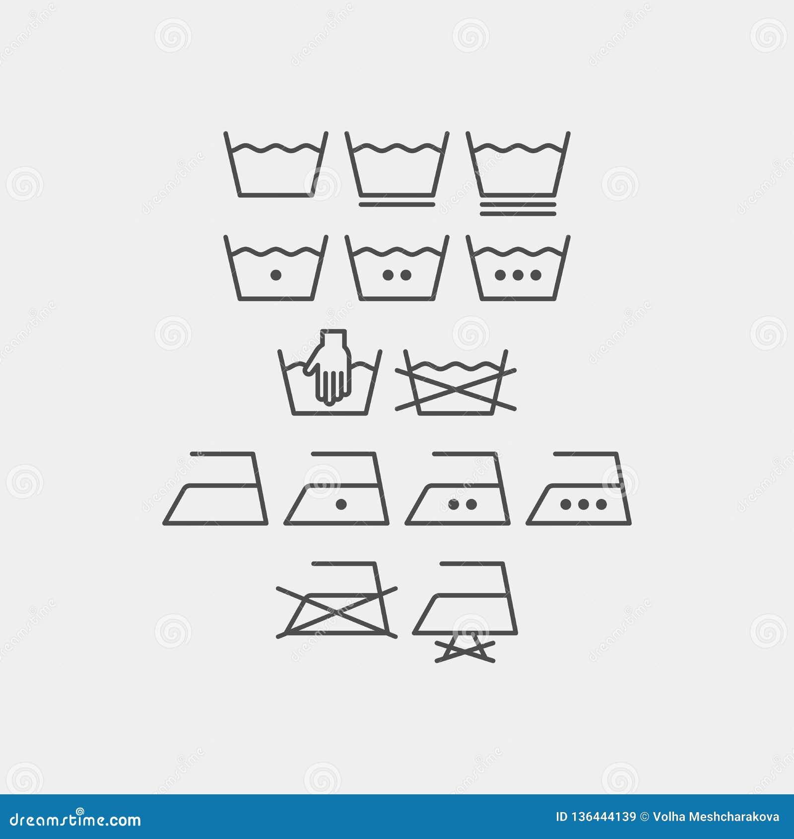 Διανυσματικά σύμβολα πλυντηρίων και σιδερώματος Επίπεδα διανυσματικά εικονίδια πλυσίματος μηχανών