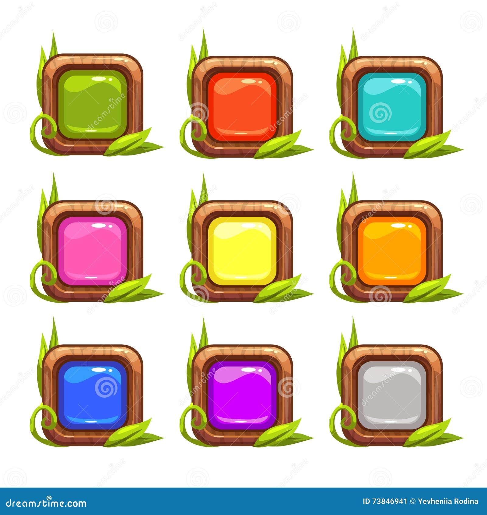 Διανυσματικά τετραγωνικά κουμπιά κινούμενων σχεδίων καθορισμένα