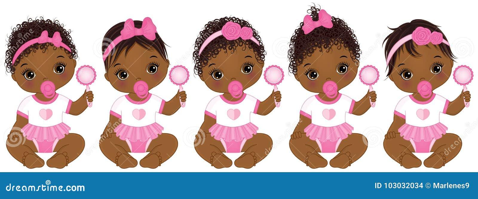 b8c7f4104ff Διανυσματικά χαριτωμένα κοριτσάκια αφροαμερικάνων με διάφορο Hairstyles