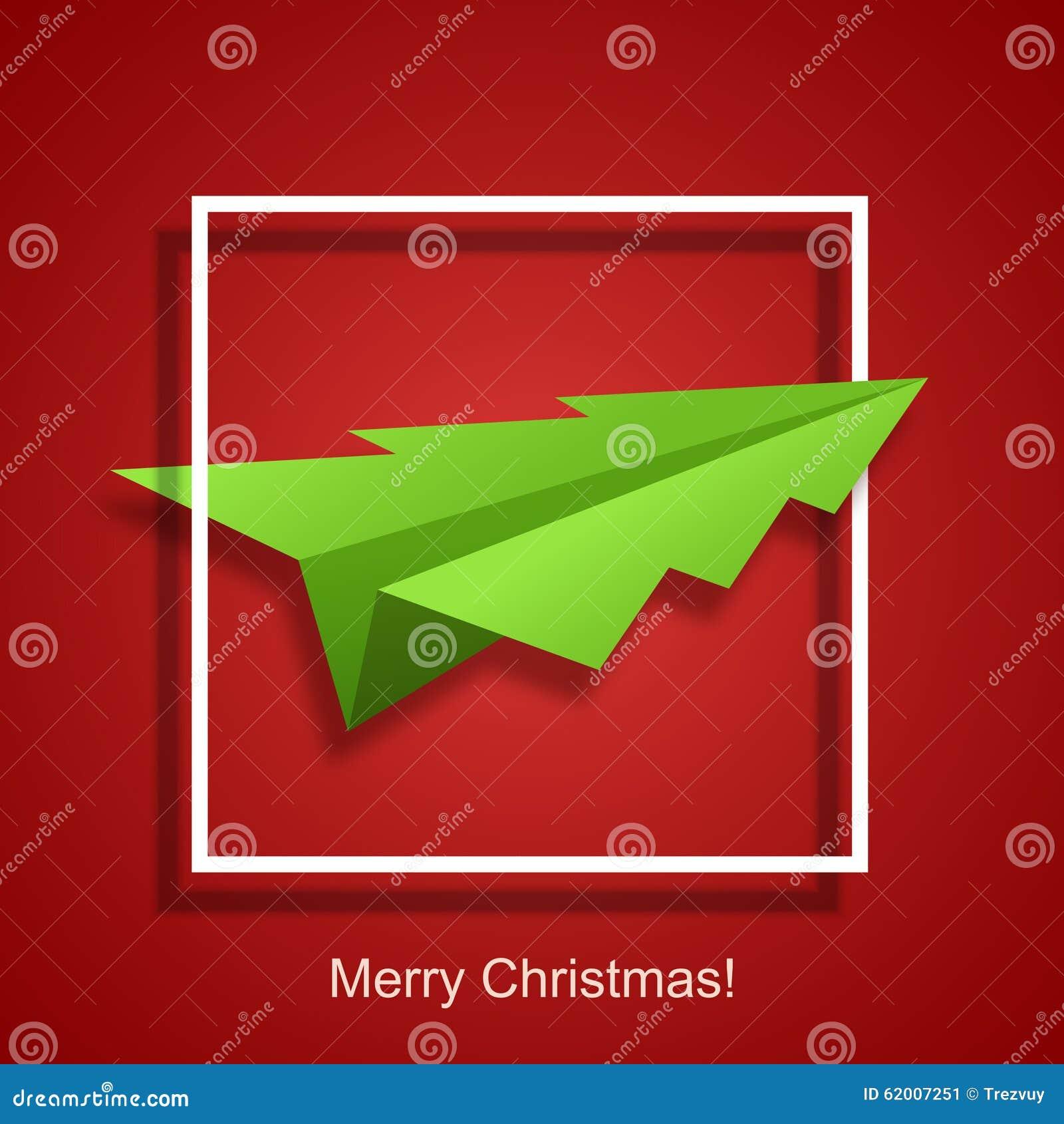 Διανυσματικά χριστουγεννιάτικο δέντρο έννοιας και αεροπλάνο origami