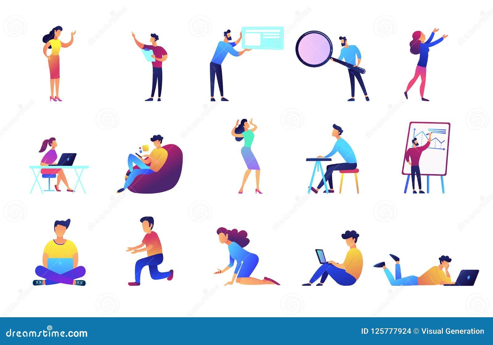 Διανυσματικές απεικονίσεις Freelancers και επιχειρηματιών καθορισμένες