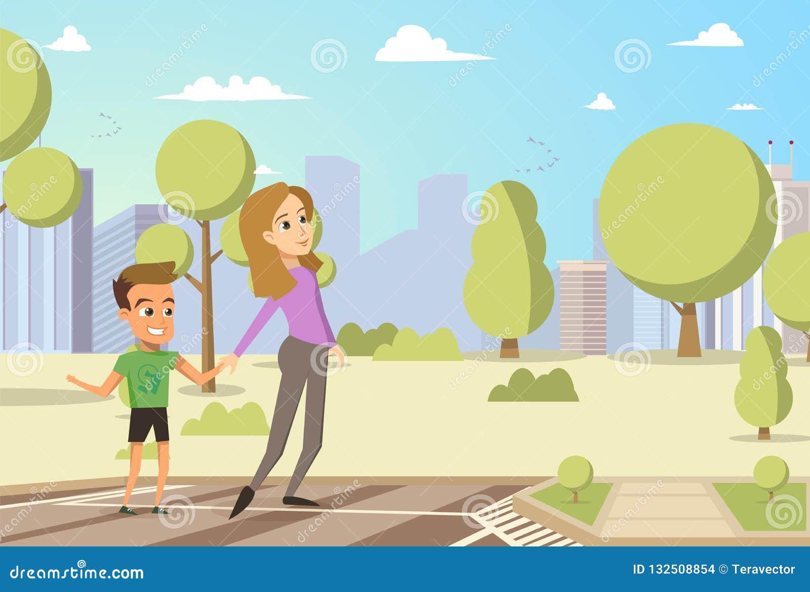 Διανυσματικές μικρό παιδί και γυναίκα κινούμενων σχεδίων απεικόνισης