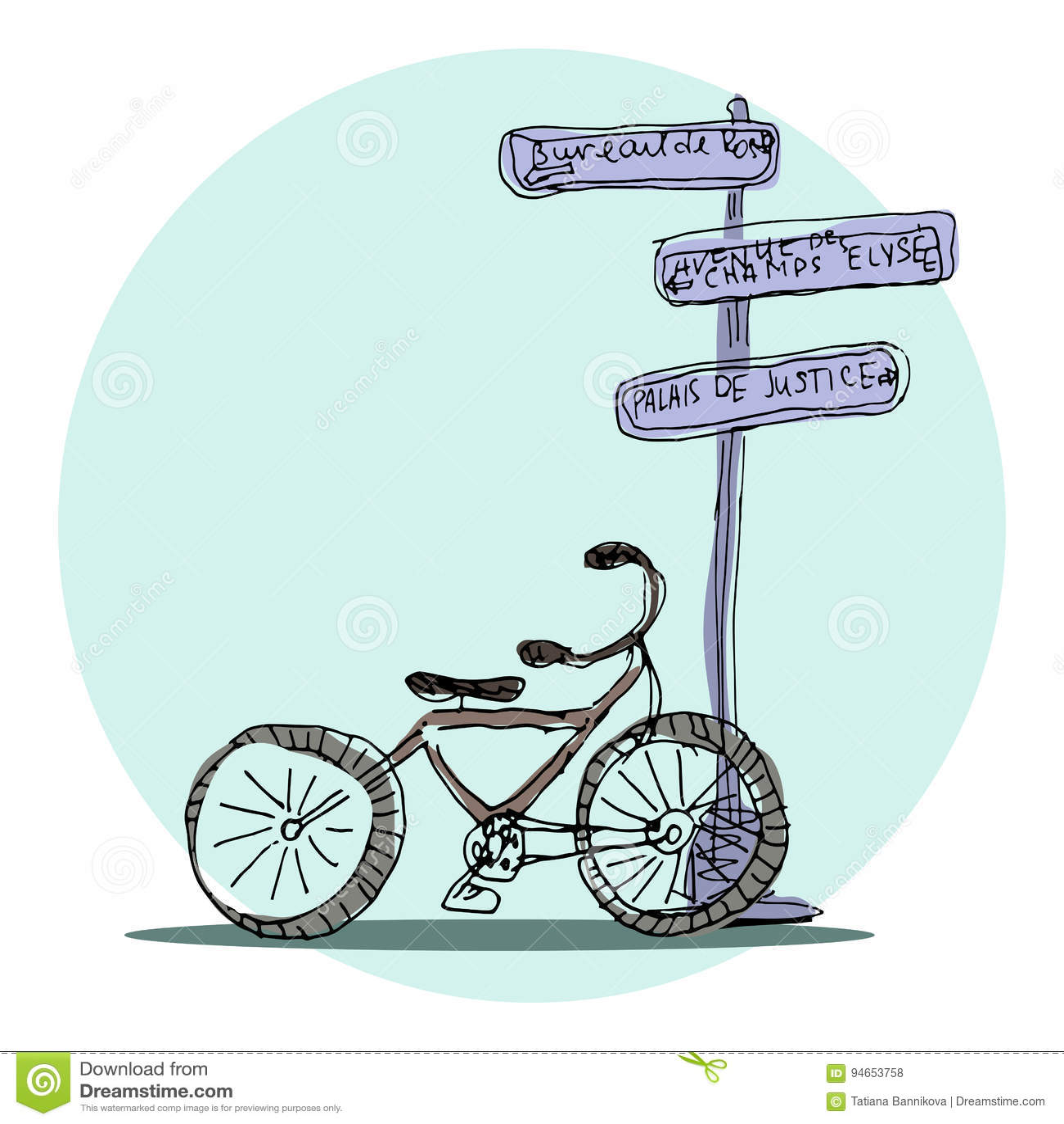 9c938bc3eee Διανυσματικές οδοί του Παρισιού ποδήλατο συρμένος εικονογράφος ...