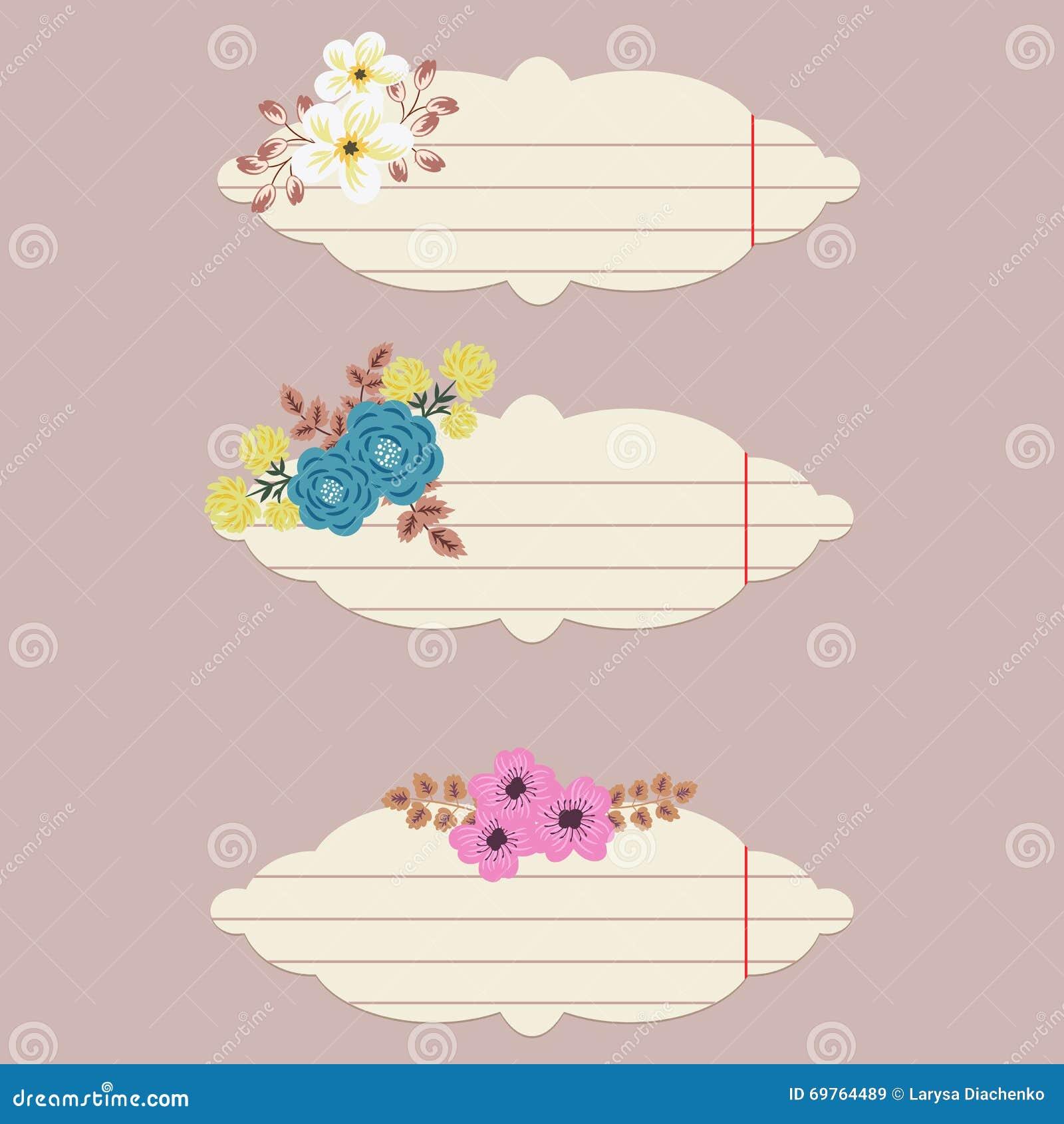 Διανυσματικές floral σημειώσεις