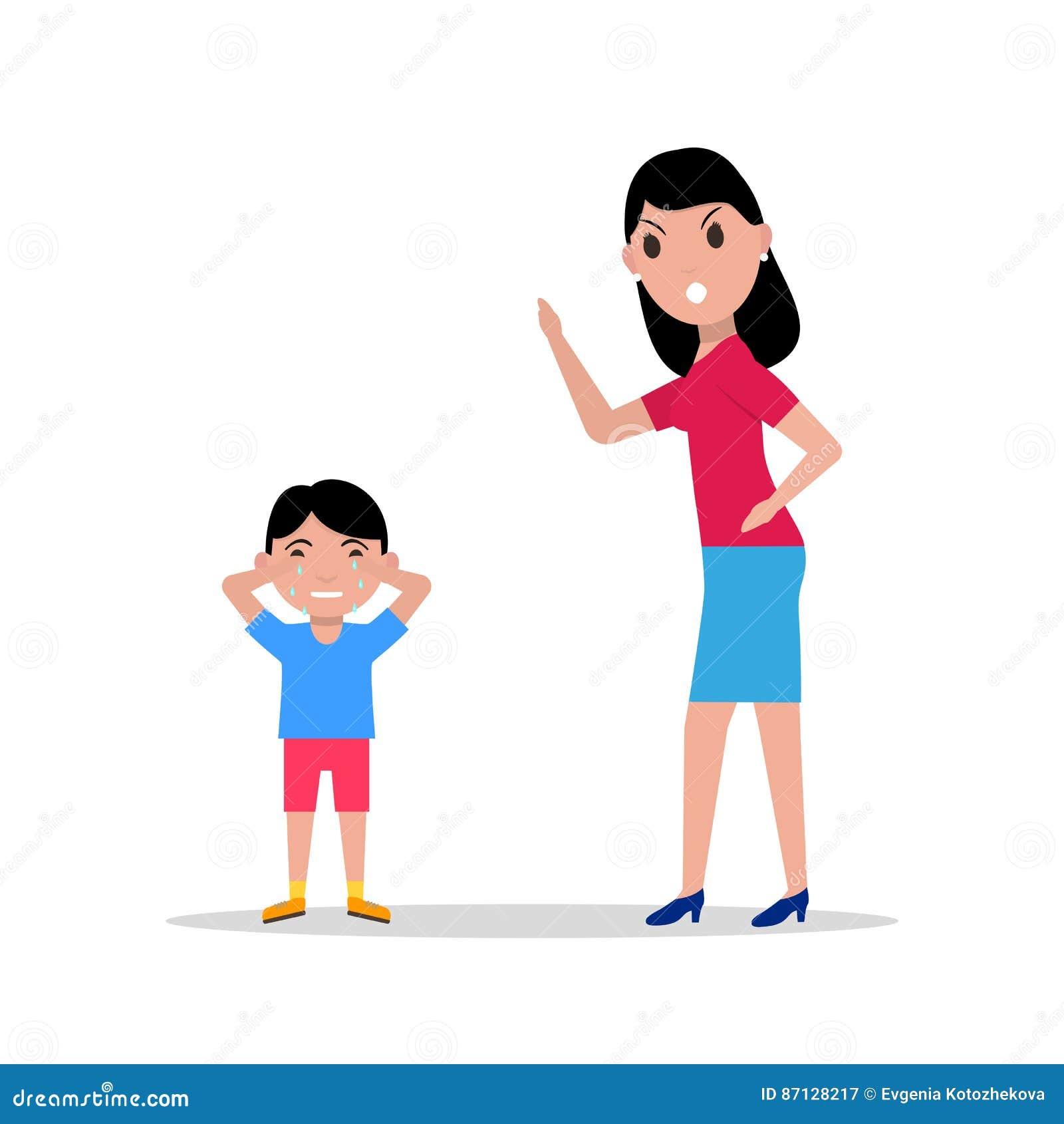 Διανυσματικήη μητέρα κινούμενων σχεδίων που επιπλήττει το παιδί της