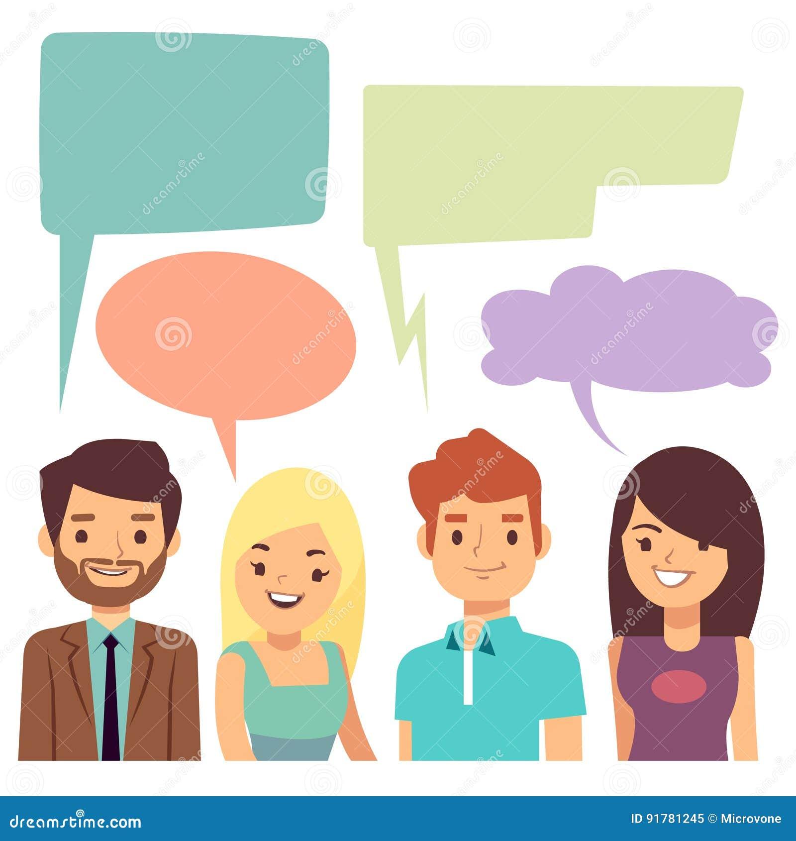Διανυσματική έννοια συνομιλίας με τους ανθρώπους και τις κενές φυσαλίδες σκέψης