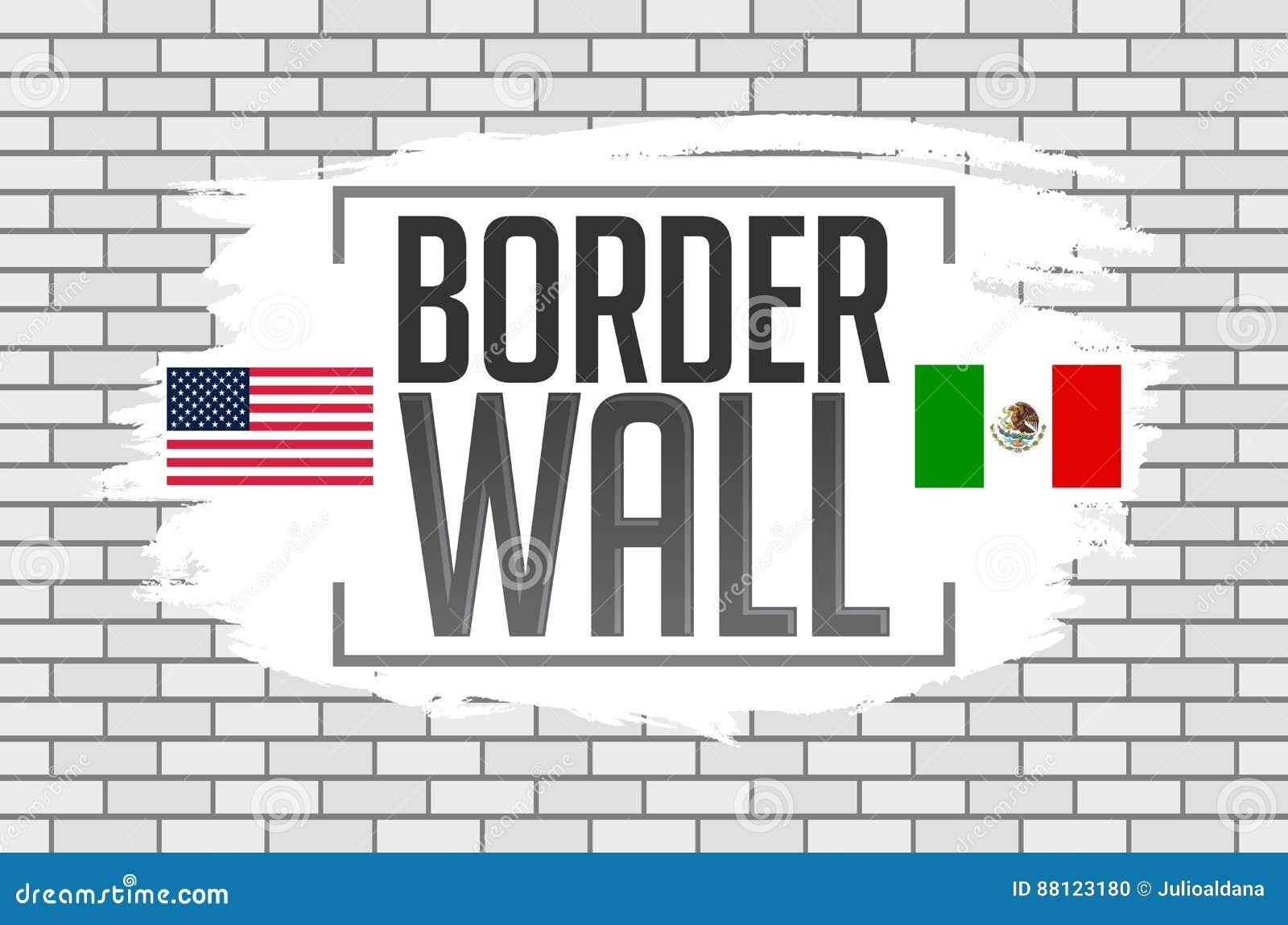 Διανυσματική απεικόνιση έννοιας τοίχων συνόρων με τις σημαίες των Ηνωμένων Πολιτειών και του Μεξικού