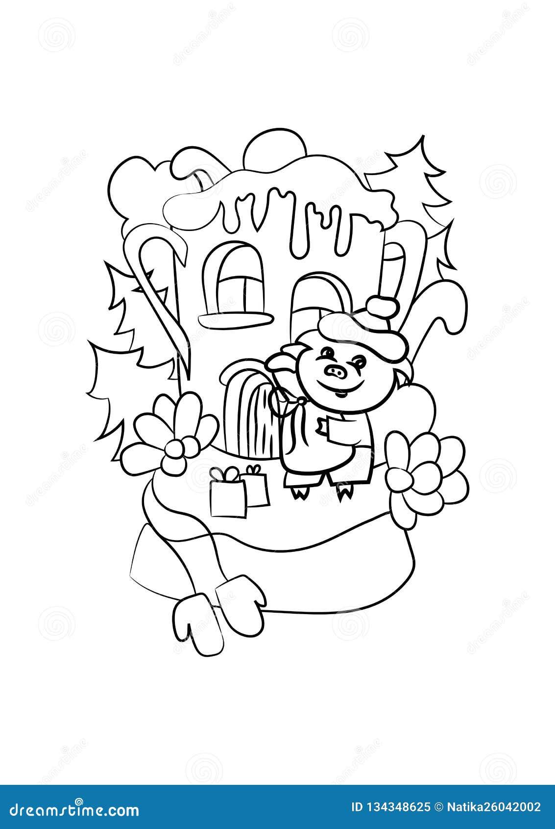 Διανυσματική απεικόνιση για το χρωματισμό Το Piggy ήρθε στο σπίτι με τα δώρα