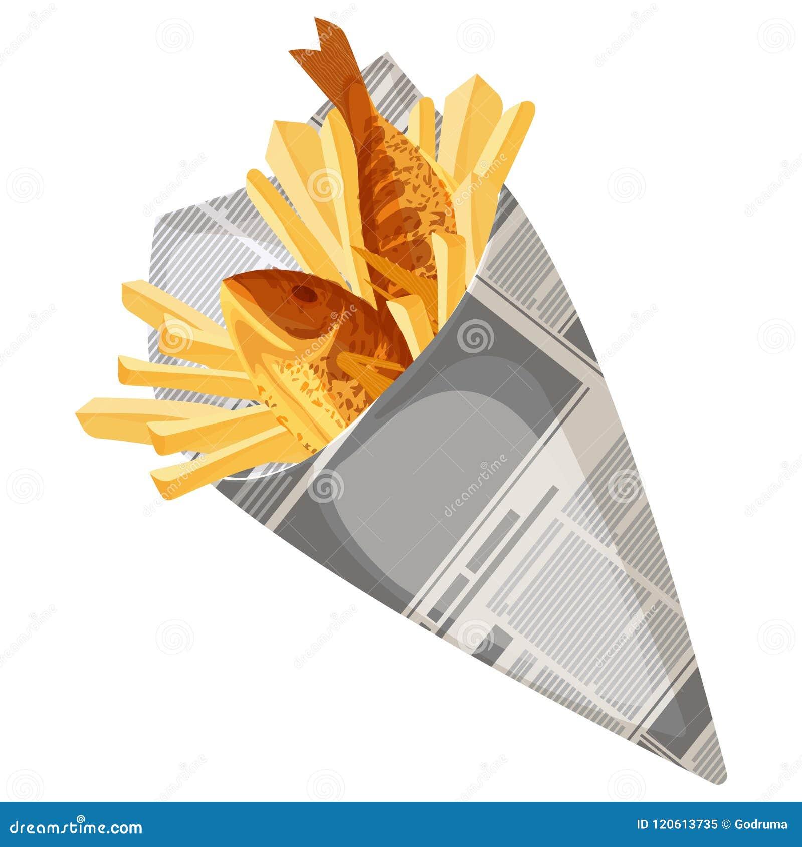 Διανυσματική απεικόνιση γρήγορου φαγητού ψαριών και τσιπ παραδοσιακή