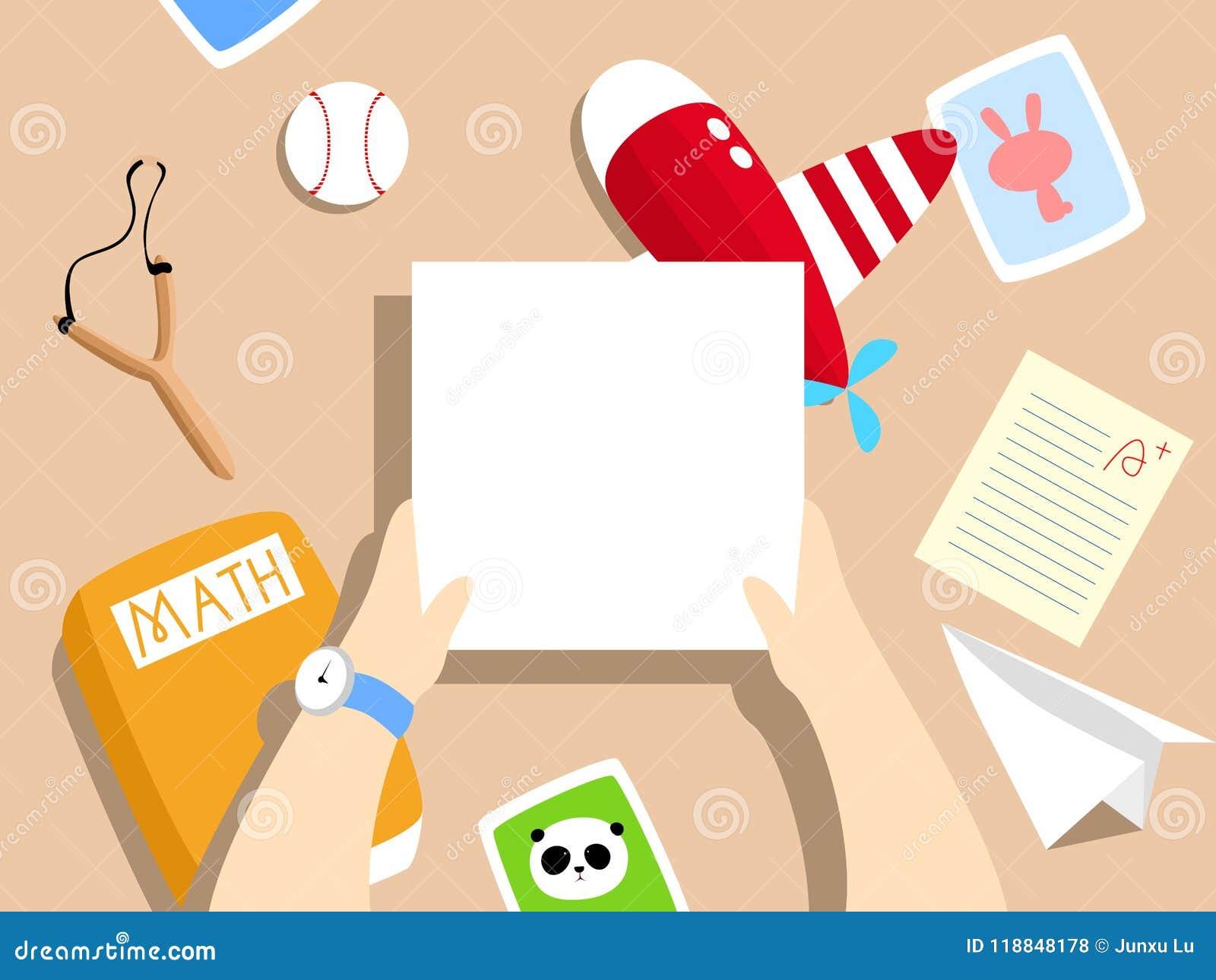 Διανυσματική απεικόνιση: γραφείο σχολικών αγοριών ` s με το αεροπλάνο παιχνιδιών, αεροπλάνο εγγράφου, έγγραφο δοκιμής, math εγχει