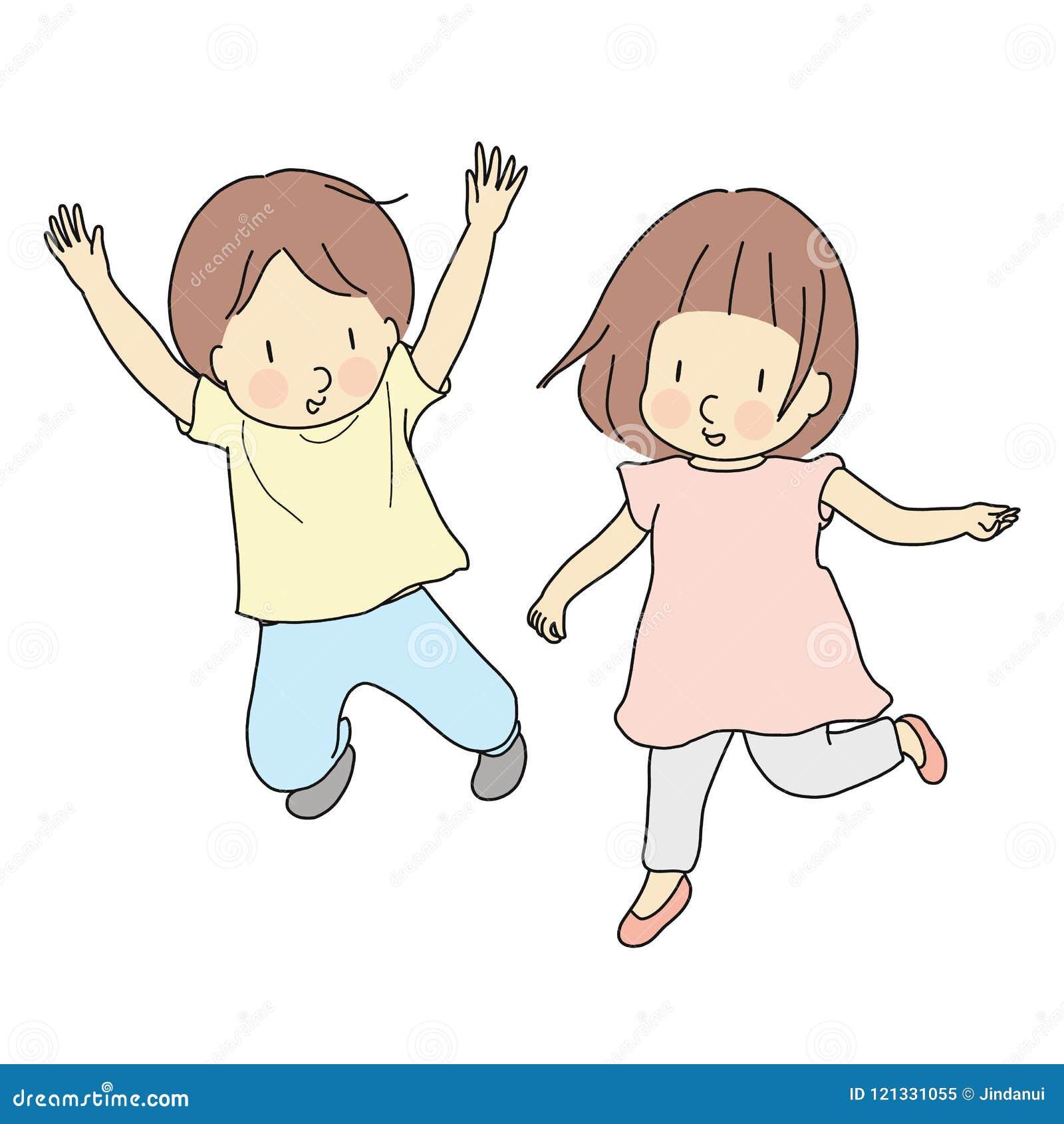 Διανυσματική απεικόνιση δύο παιδιών που πηδούν από κοινού Πρόωρη ανάπτυξη παιδικής ηλικίας, ευτυχής κάρτα ημέρας παιδιών, παιχνίδ