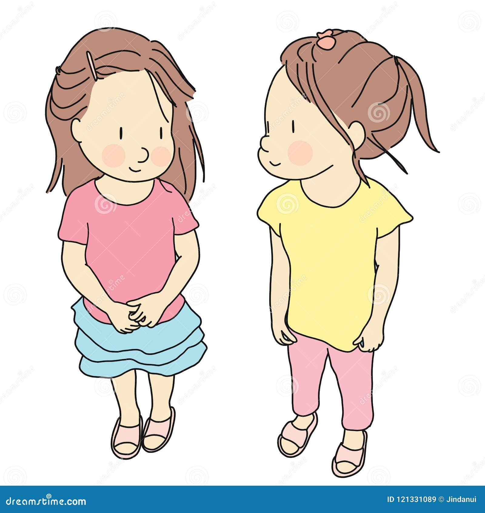 Διανυσματική απεικόνιση δύο παιδιών που στέκονται και που χαμογελούν από κοινού Πρόωρη ανάπτυξη παιδικής ηλικίας, ευτυχής ημέρα π
