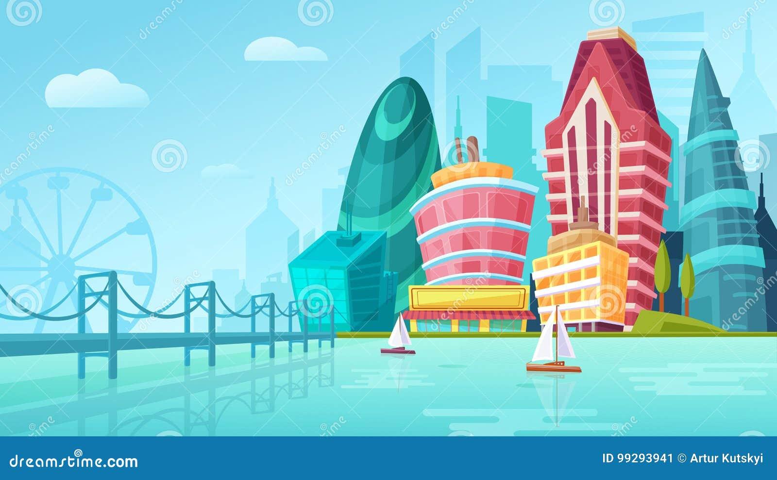 Διανυσματική απεικόνιση κινούμενων σχεδίων ενός αστικού τοπίου με τα μεγάλα σύγχρονα κτήρια κοντά στη γέφυρα με τα γιοτ