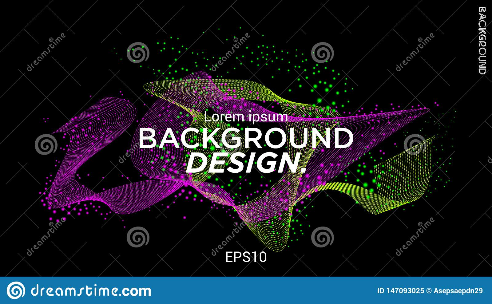 Διανυσματική απεικόνιση με τα μουσικά κύματα από τα σημεία Σύγχρονο σχέδιο με τα δυναμικά στοιχεία E 10 eps