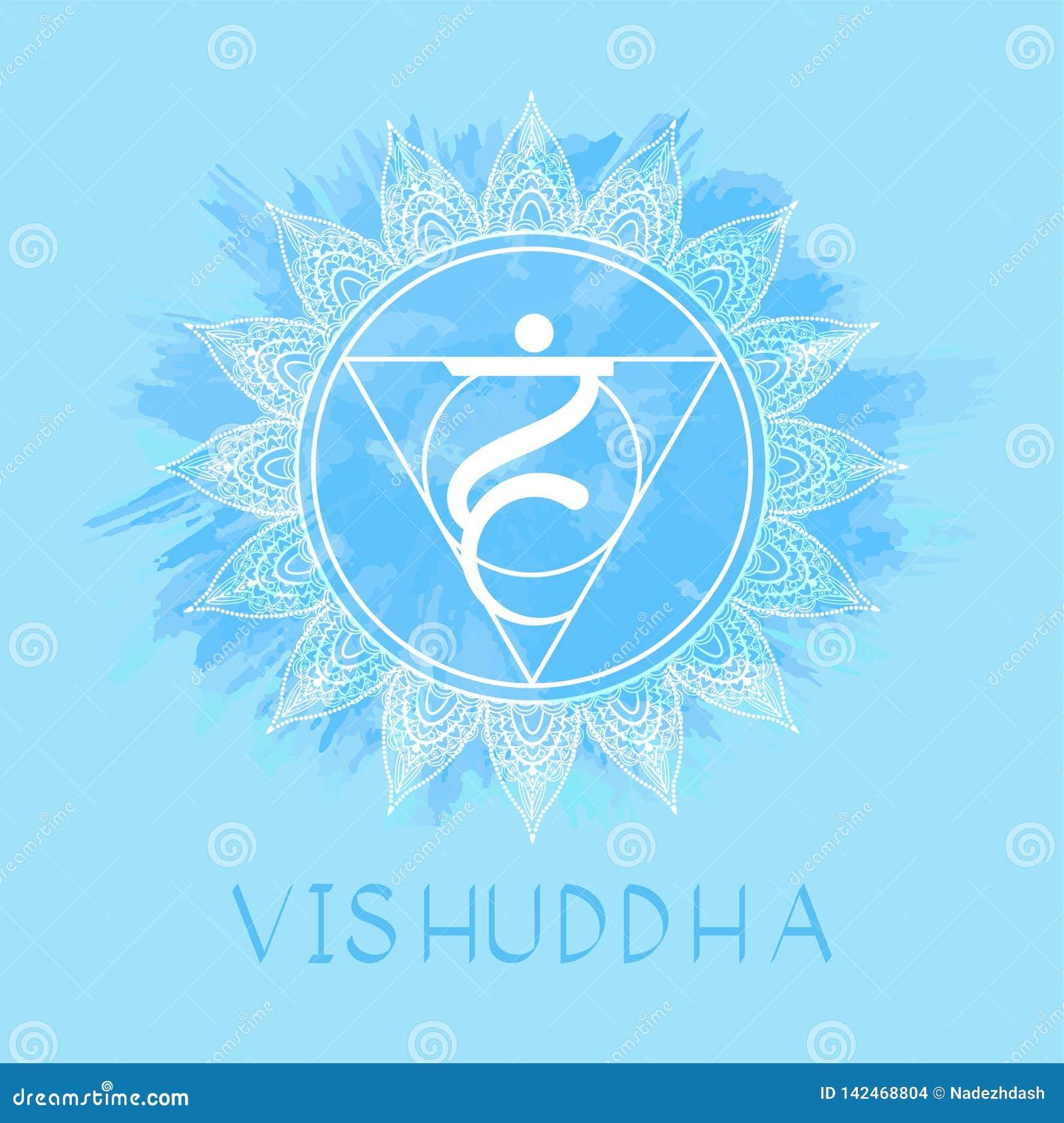 Διανυσματική απεικόνιση με το σύμβολο Vishuddha - chakra λαιμού στο υπόβαθρο watercolor