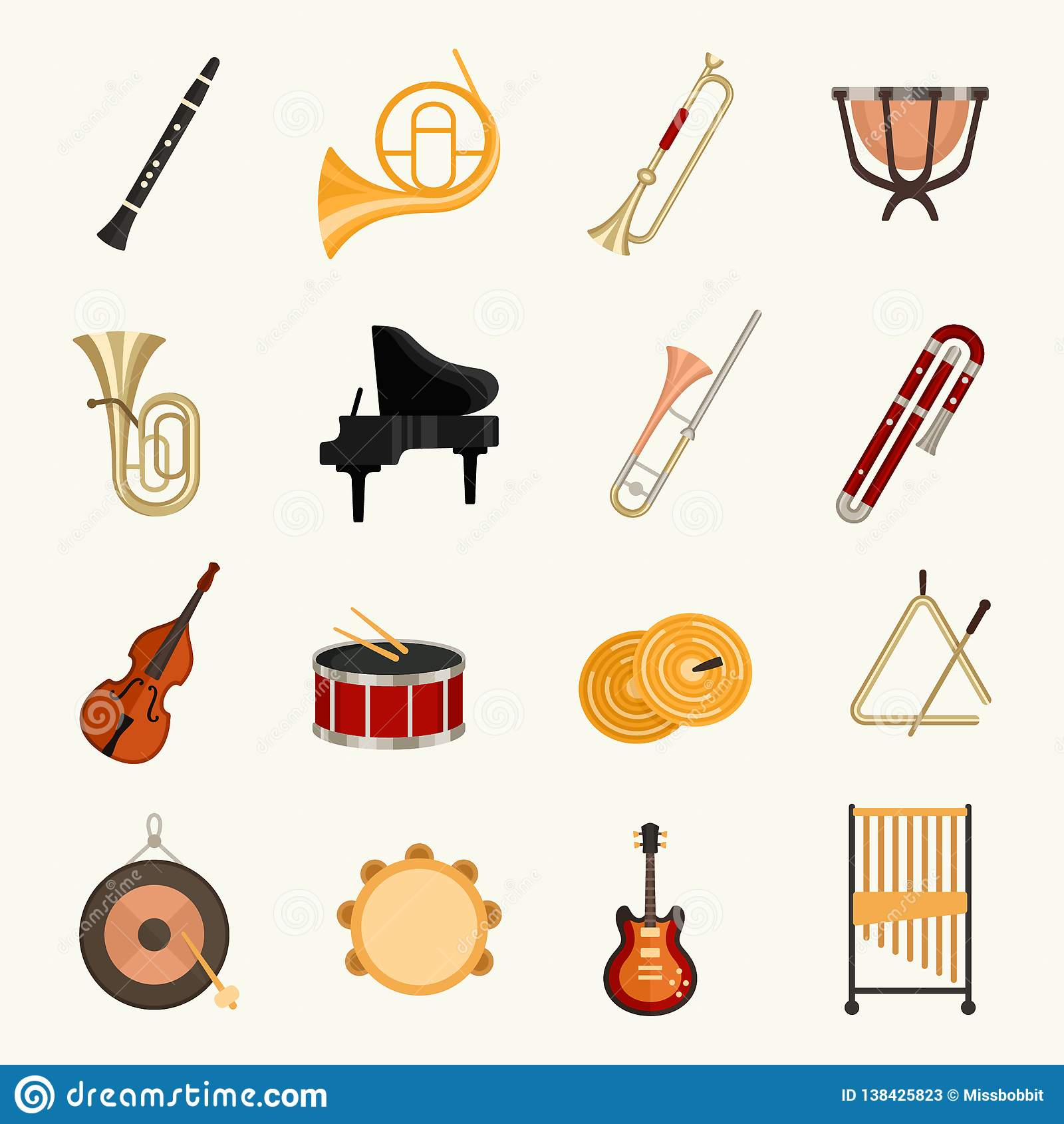 Διανυσματική απεικόνιση οργάνων ορχηστρών μουσική