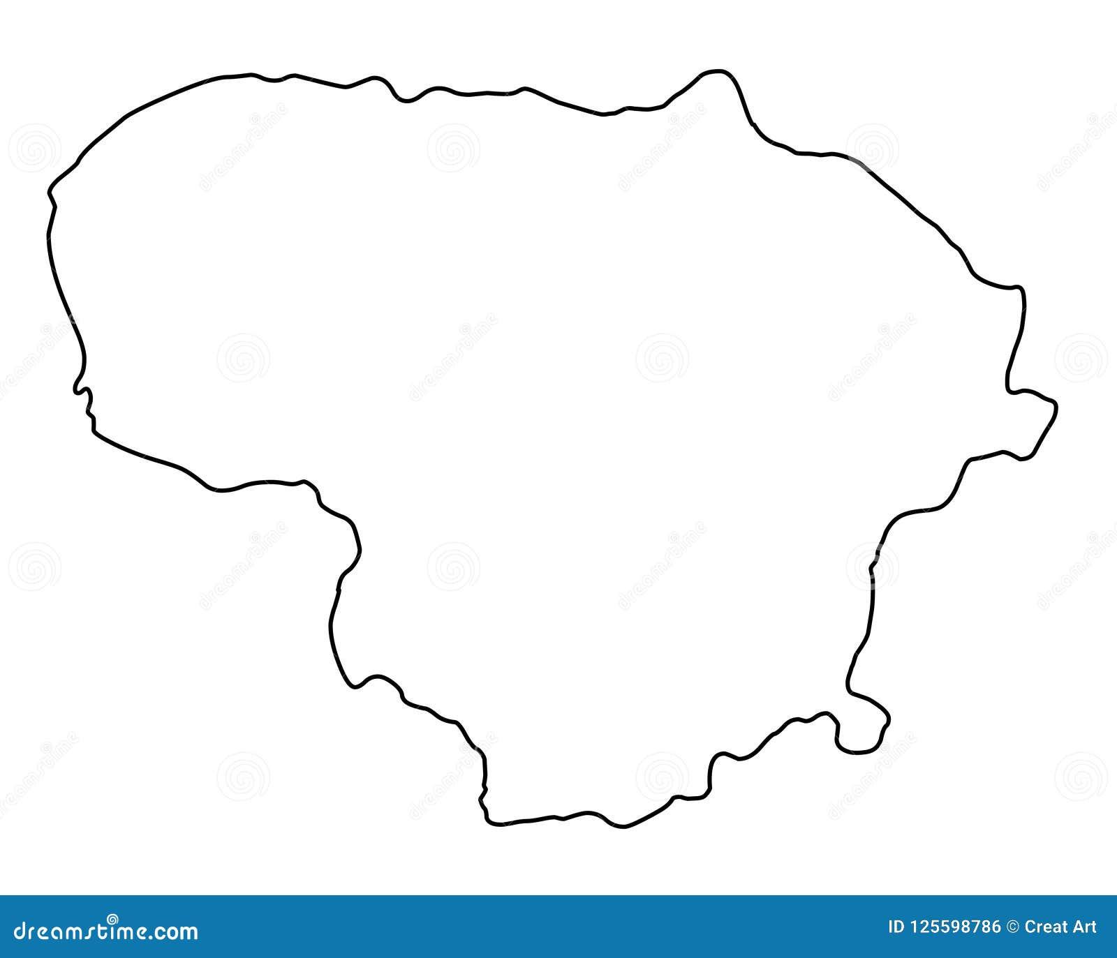 Διανυσματική απεικόνιση περιλήψεων χαρτών της Λιθουανίας
