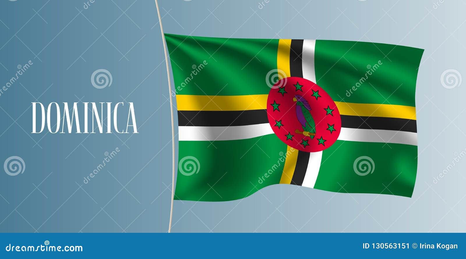 Διανυσματική απεικόνιση σημαιών της Δομίνικας κυματίζοντας Εικονικό στοιχείο σχεδίου