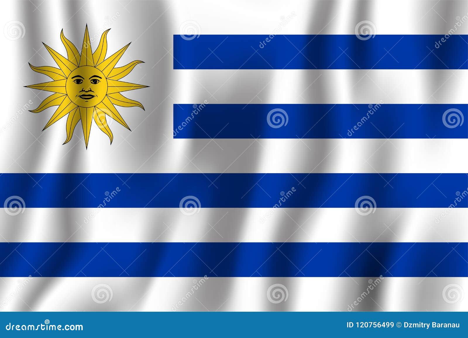 Διανυσματική απεικόνιση σημαιών της Ουρουγουάης ρεαλιστική κυματίζοντας Εθνικό σύμβολο υποβάθρου χωρών ανεξαρτησία ημέρας ανασκόπ