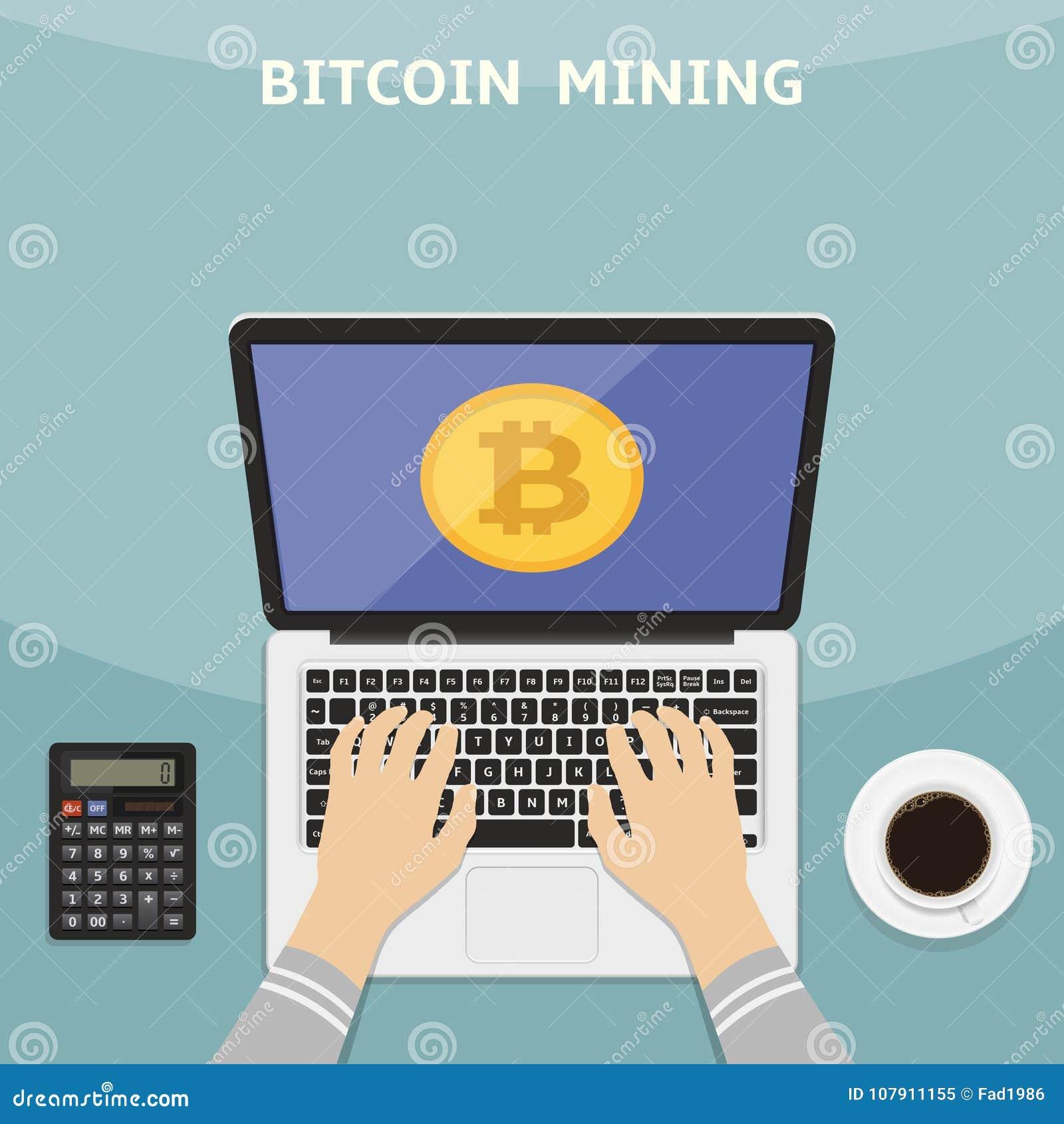 Διανυσματική απεικόνιση στο επίπεδο ύφος Έννοια Bitcoin και cryptocurrency Χέρια με το lap-top και τα ψηφιακά χρήματα app μεταλλε