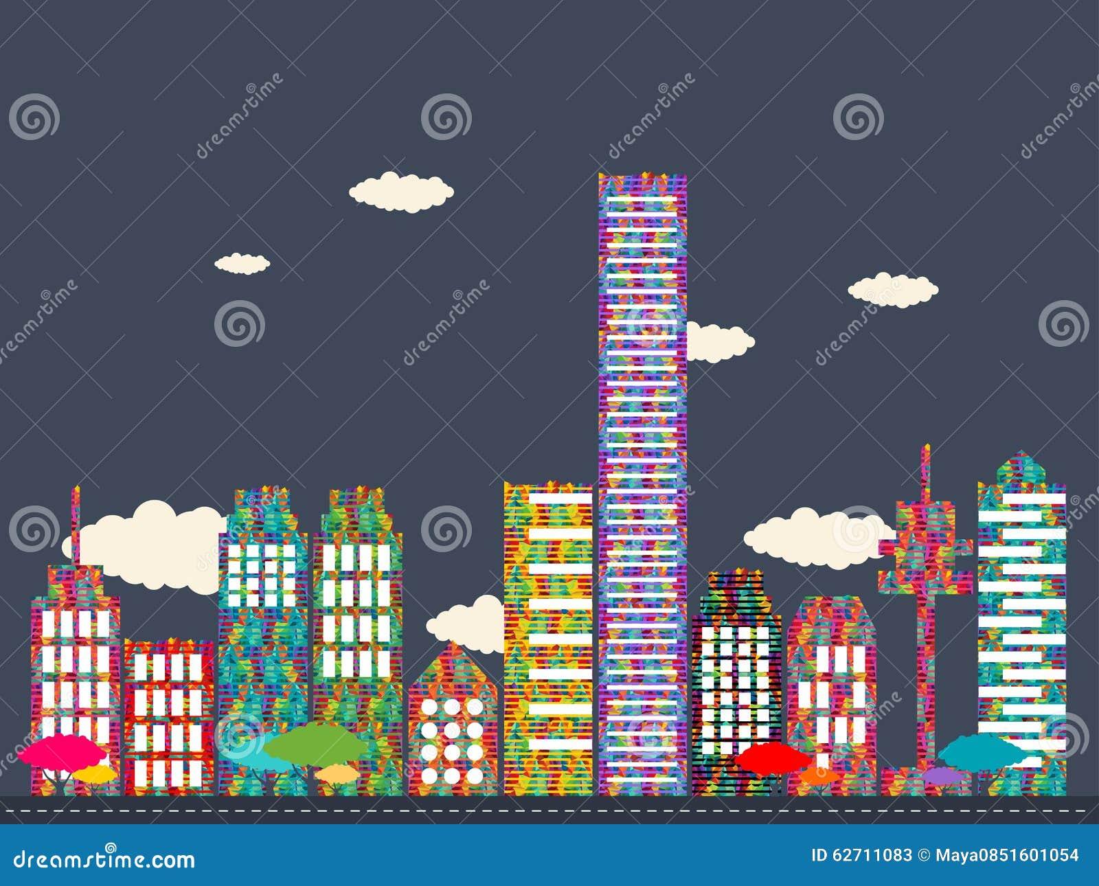 Διανυσματική απεικόνιση της ζωηρόχρωμης πόλης