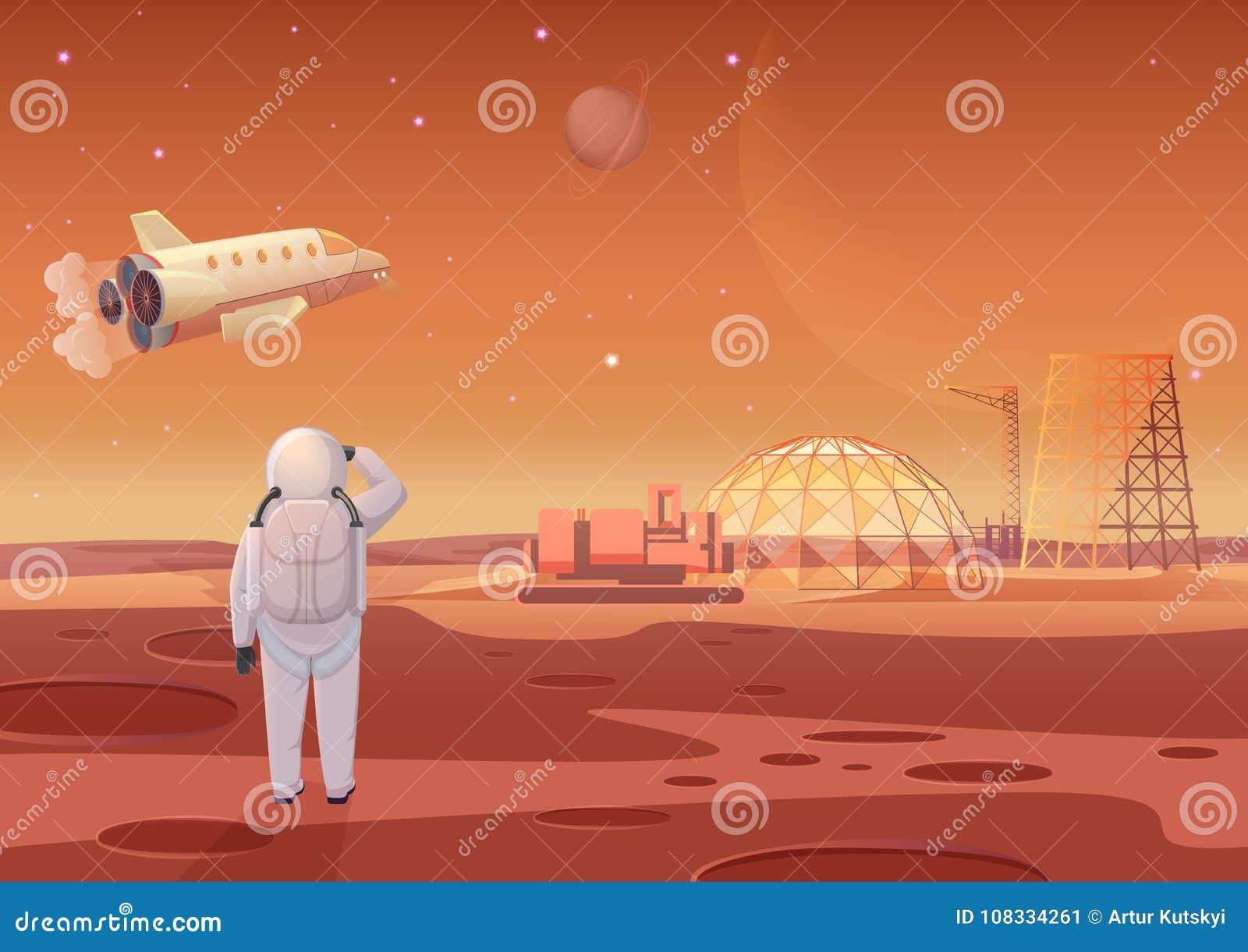Διανυσματική απεικόνιση του αστροναύτη που στέκεται στην αποικία του Άρη και που εξετάζει το πετώντας διαστημόπλοιο