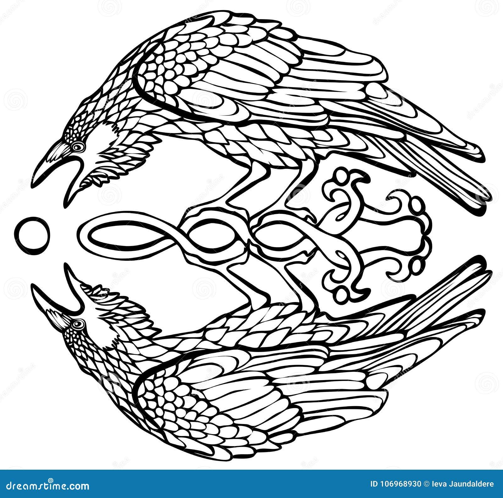 Διανυσματική απεικόνιση του κορακιού που πιάνει την αντανάκλαση ήλιων