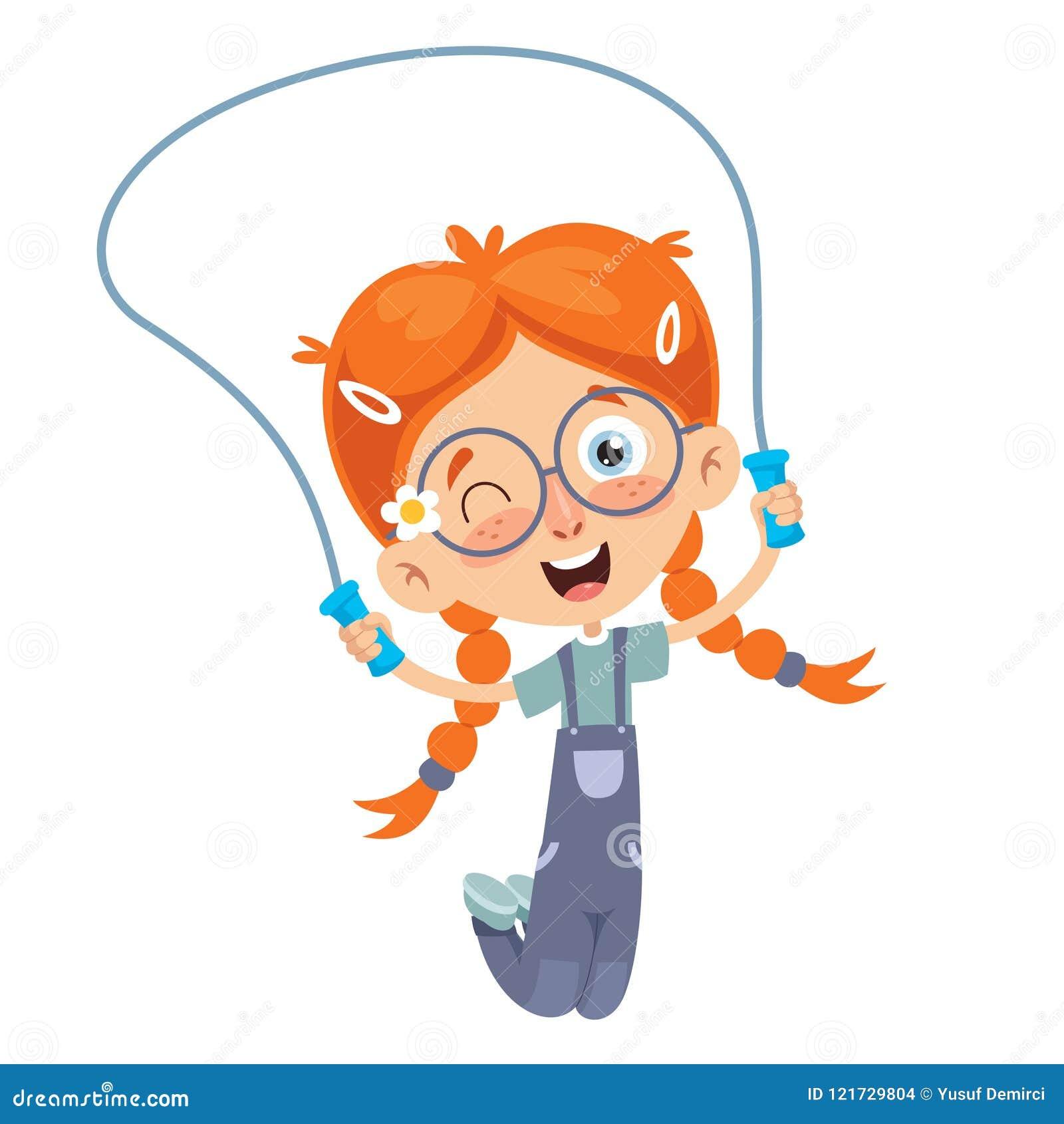 Διανυσματική απεικόνιση του πηδώντας σχοινιού παιδιών