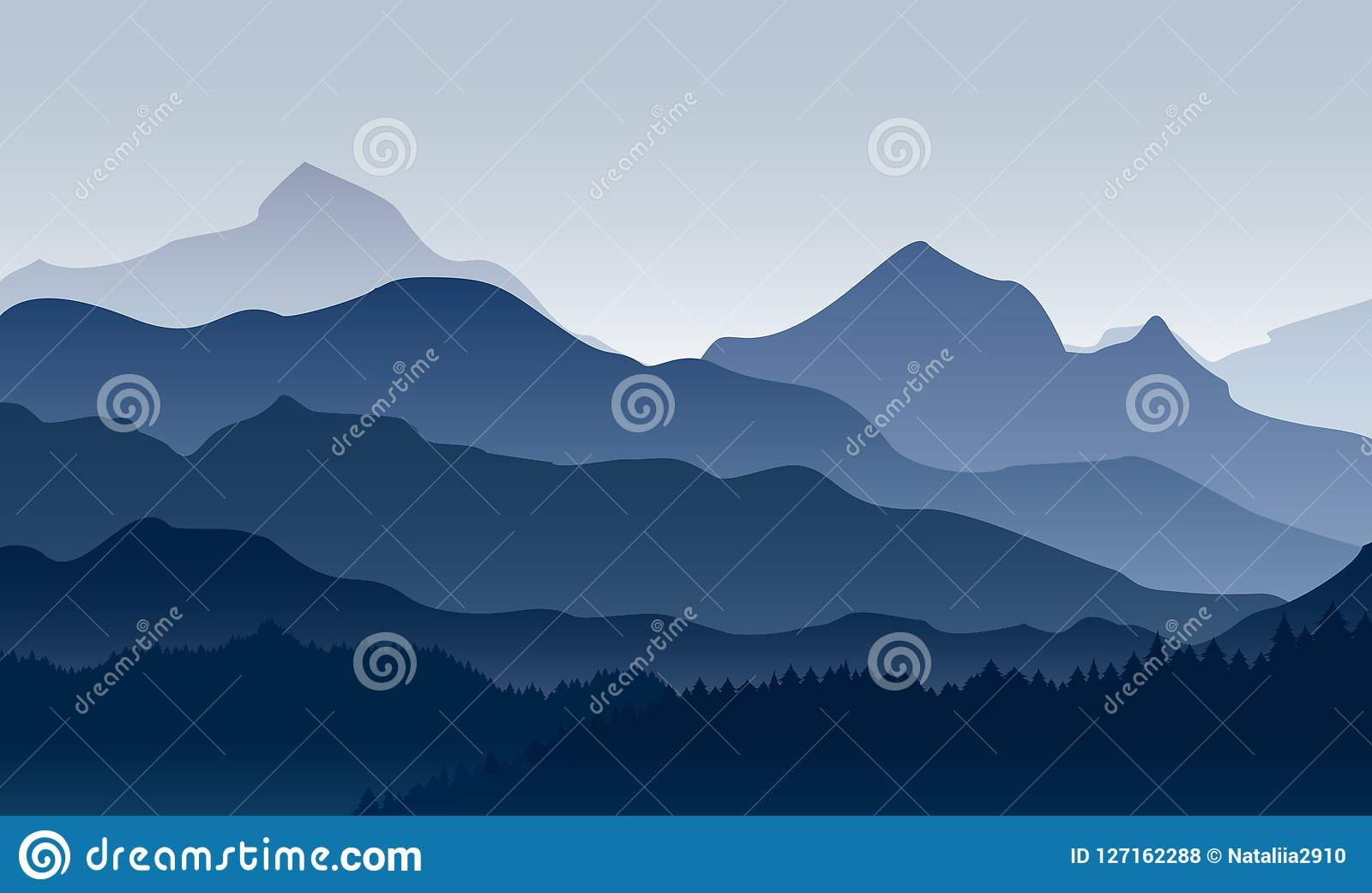 Διανυσματική απεικόνιση του πρωινού στα βουνά Μυστήριο τοπίο του δάσους, mountaings στην ομίχλη στα μπλε χρώματα, επίπεδα