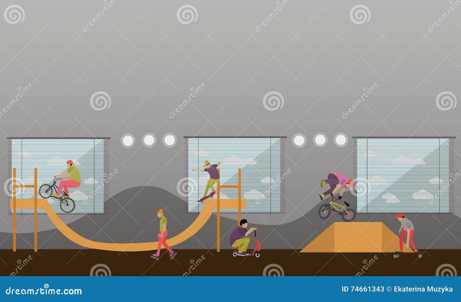 c20a3b428f3 Διανυσματική απεικόνιση των ανθρώπων στο ποδήλατο, Skateboard, τους ...