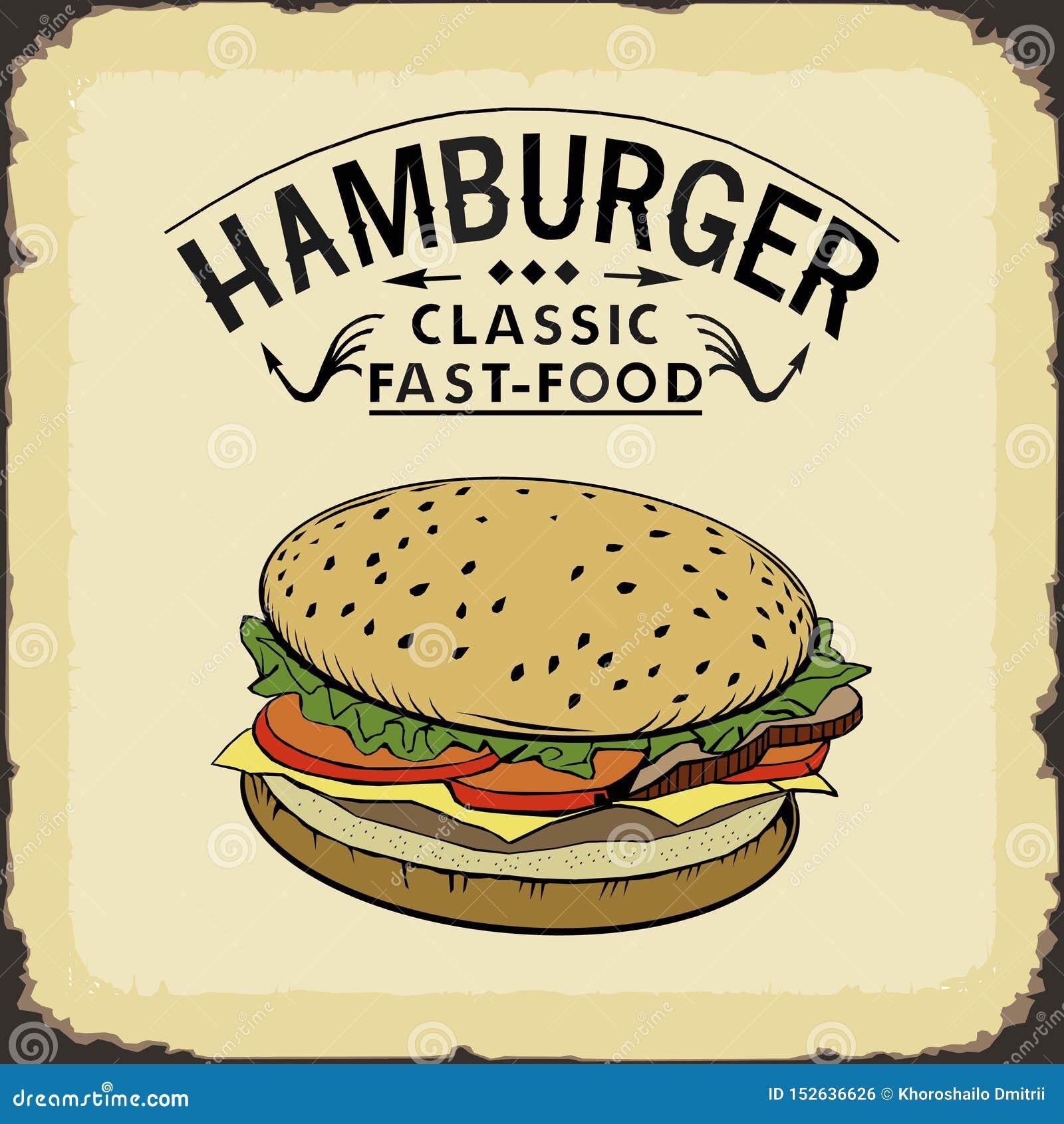 Διανυσματική απεικόνιση χρώματος γρήγορου φαγητού χάμπουργκερ κλασική