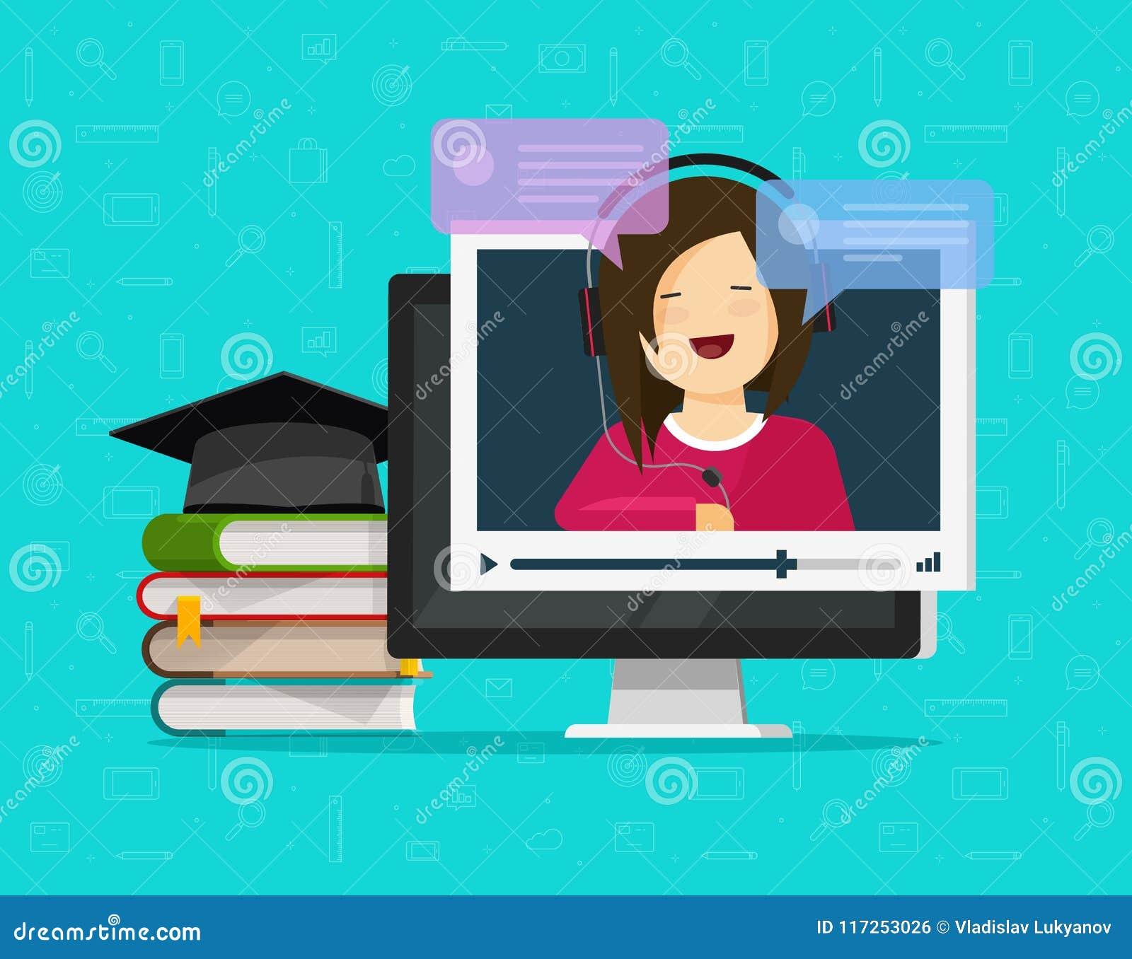 Διανυσματική απεικόνιση Webinar, επίπεδος υπολογιστής κινούμενων σχεδίων που προσέχει την τηλεοπτική σε απευθείας σύνδεση κατάρτι