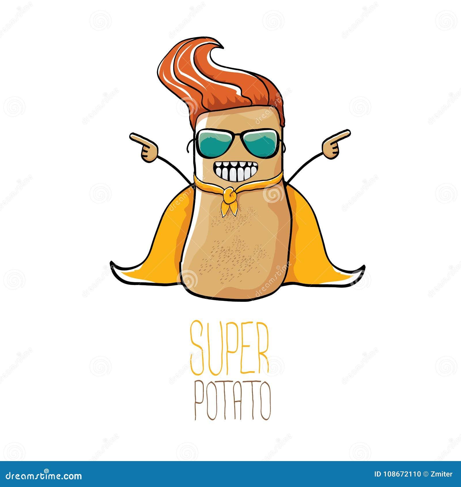 Διανυσματική αστεία πατάτα ηρώων κινούμενων σχεδίων χαριτωμένη καφετιά έξοχη με το πορτοκαλί ακρωτήριο ηρώων και μάσκα ηρώων που
