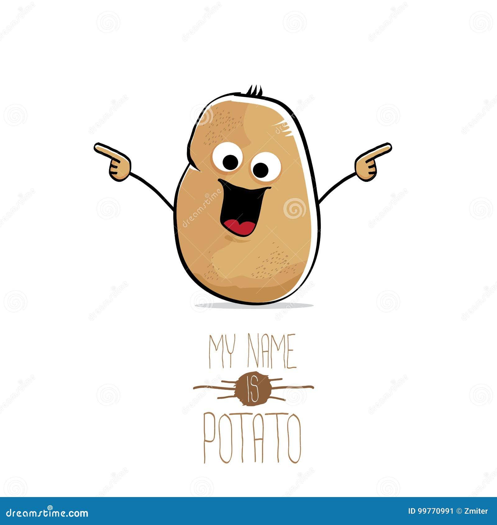 Διανυσματική αστεία χαριτωμένη καφετιά πατάτα κινούμενων σχεδίων που απομονώνεται στο λευκό