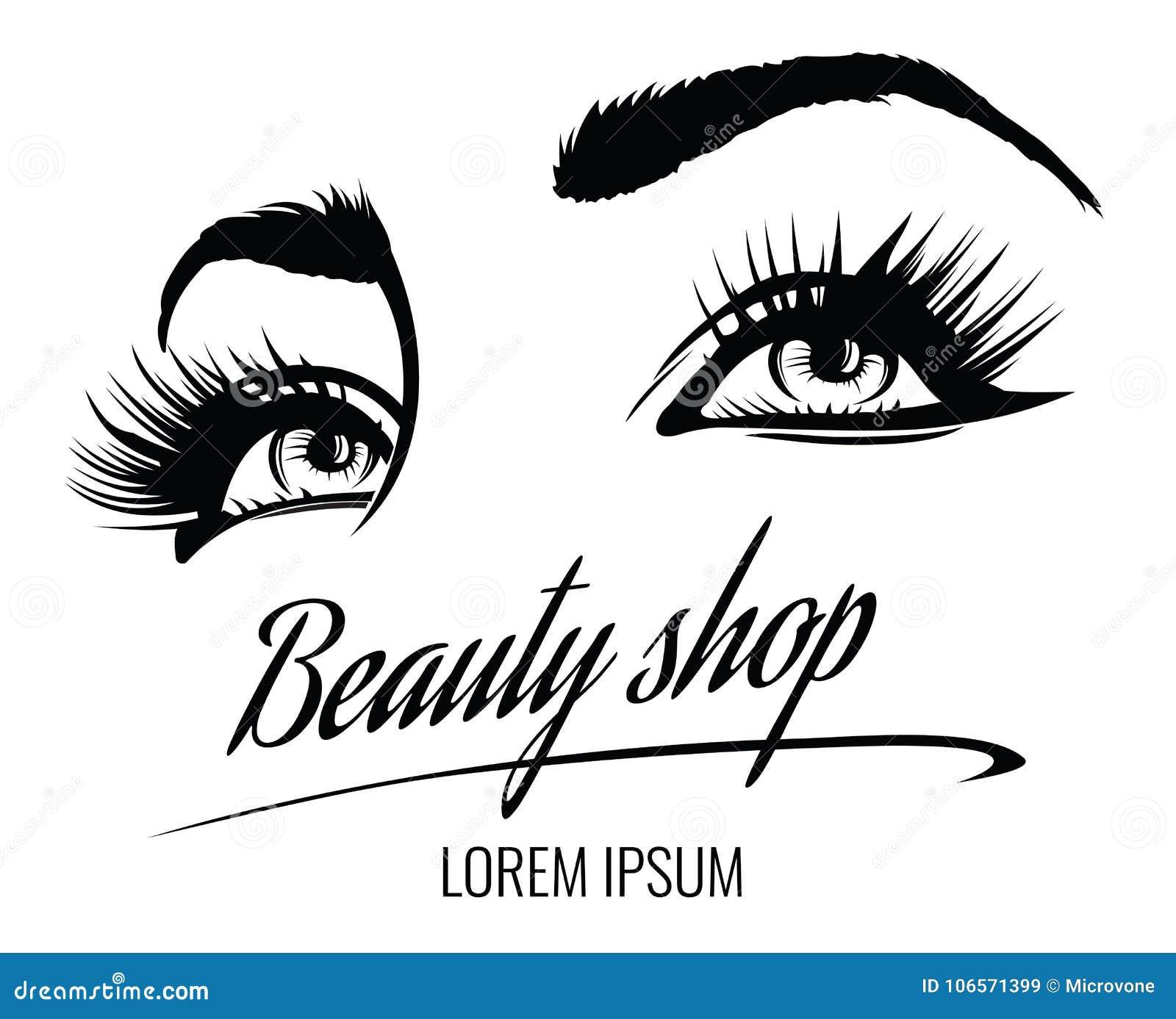Διανυσματική αφίσα σαλονιών ομορφιάς με τα μάτια, eyelashes και το φρύδι της όμορφης γυναίκας
