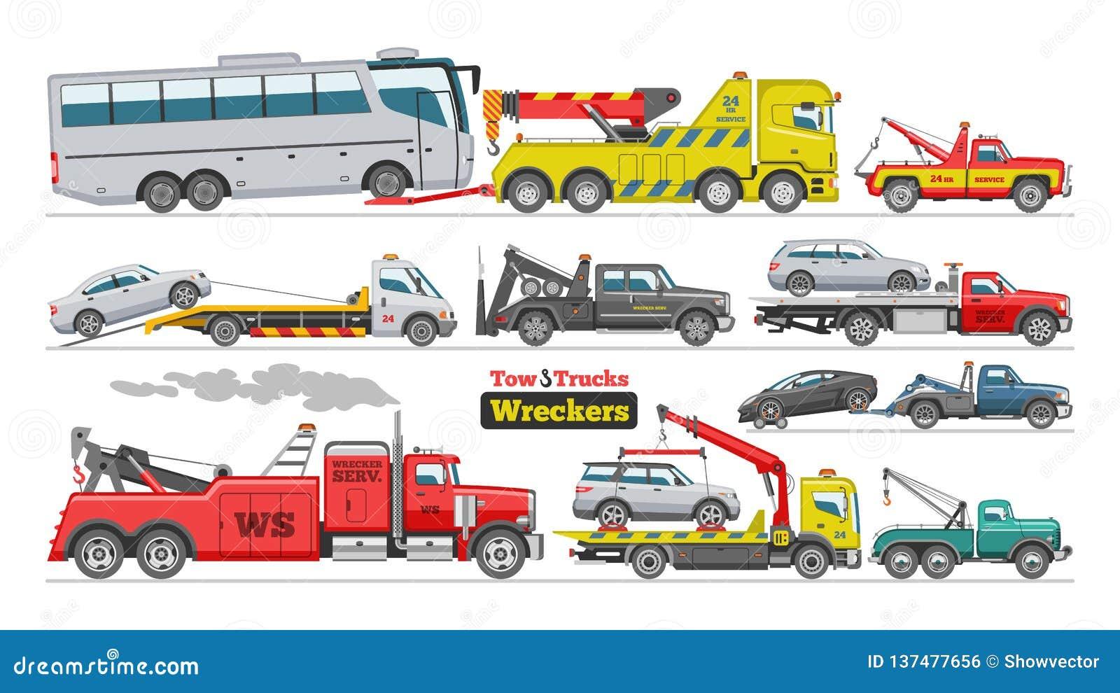 Διανυσματική βοήθεια ρυμούλκησης μεταφορών λεωφορείων οχημάτων μεταφοράς με φορτηγό αυτοκινήτων ρυμούλκησης φορτηγών ρυμούλκησης