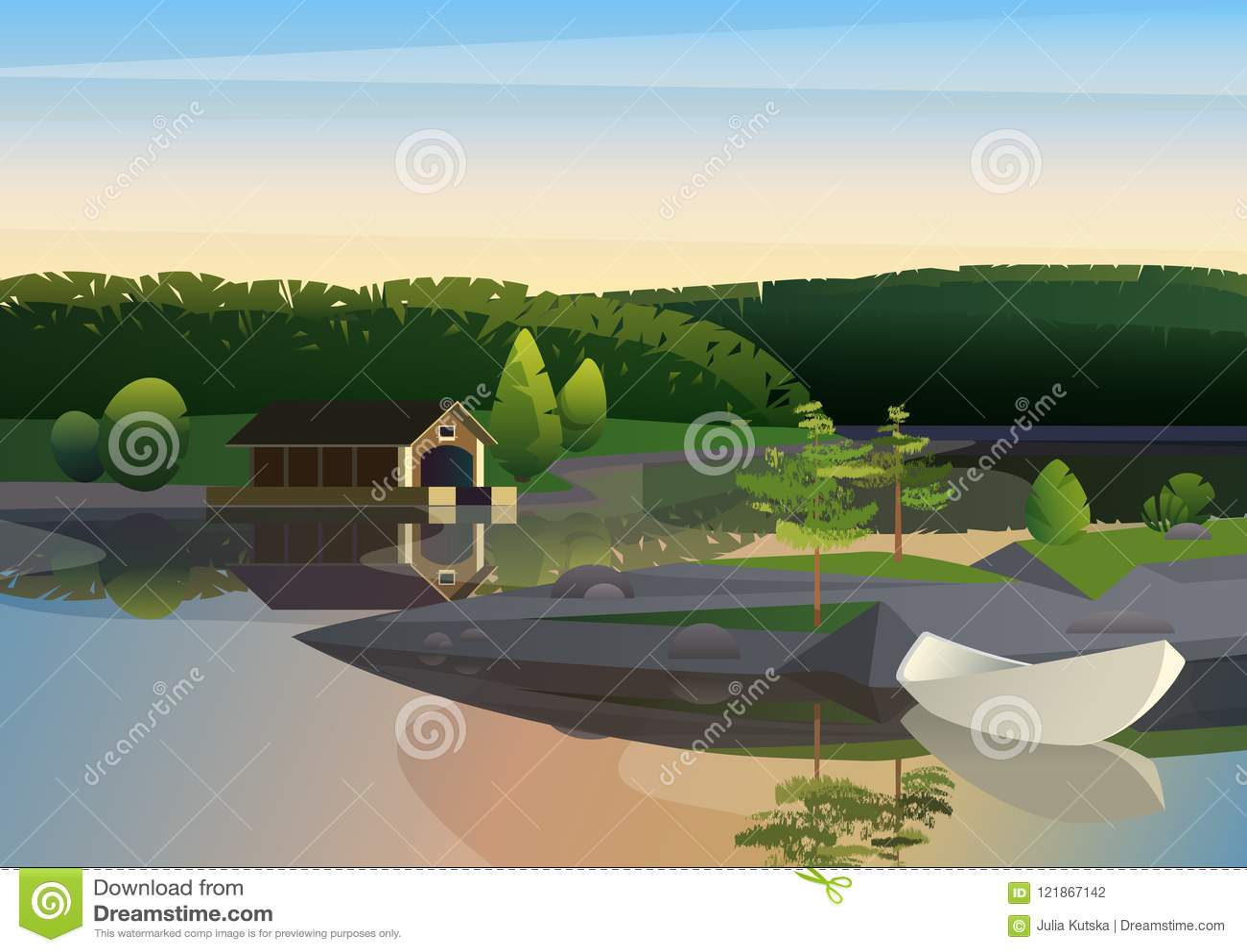 Διανυσματική εικόνα του ήρεμου τοπίου με τη μακρινή αποβάθρα σπιτιών και της πλέοντας βάρκας στην ακτή της λίμνης στην πράσινη φύ