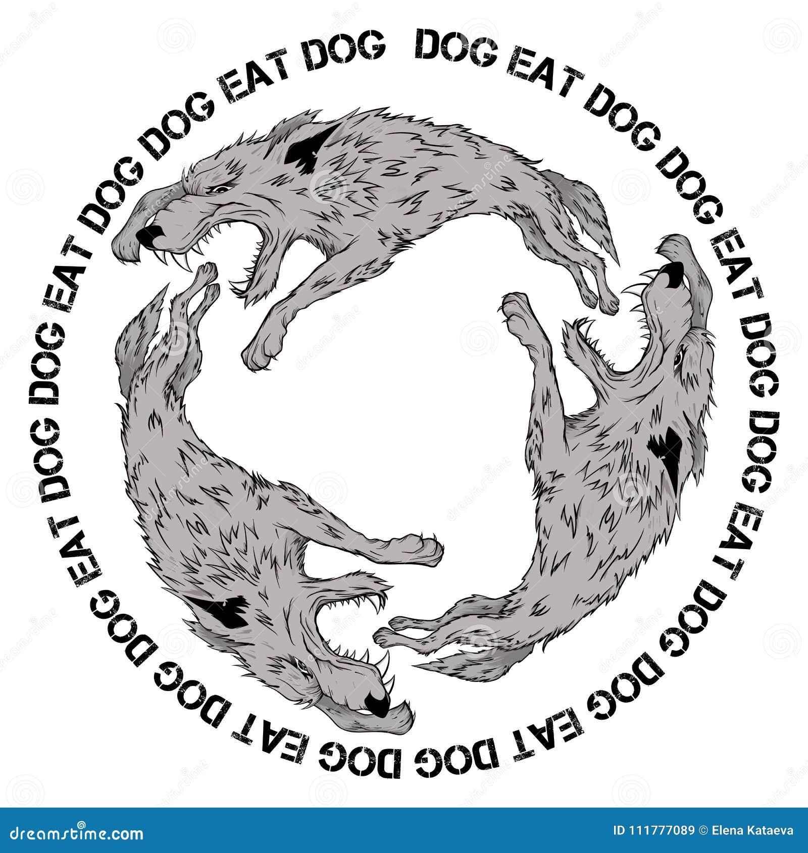 Διανυσματική εικόνα των λύκων που δαγκώνουν ο ένας τον άλλον