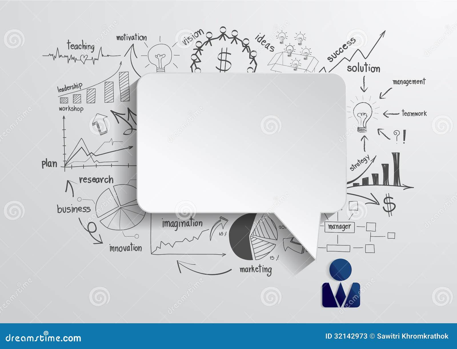 Διανυσματική λεκτική φυσαλίδα με την επιχείρηση σχεδίων strateg