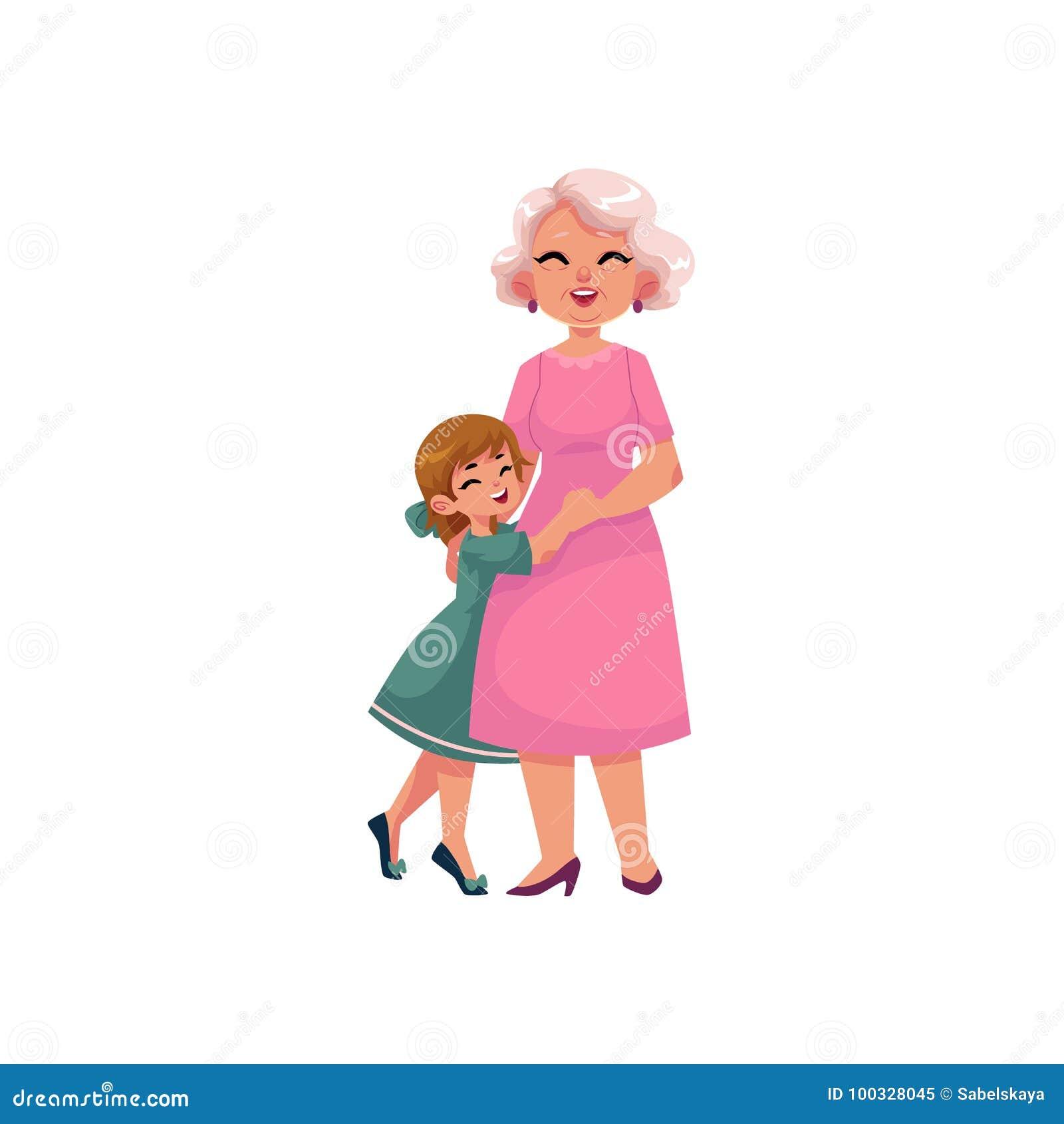 Διανυσματική επίπεδη γιαγιά και μικρό αγκάλιασμα κοριτσιών
