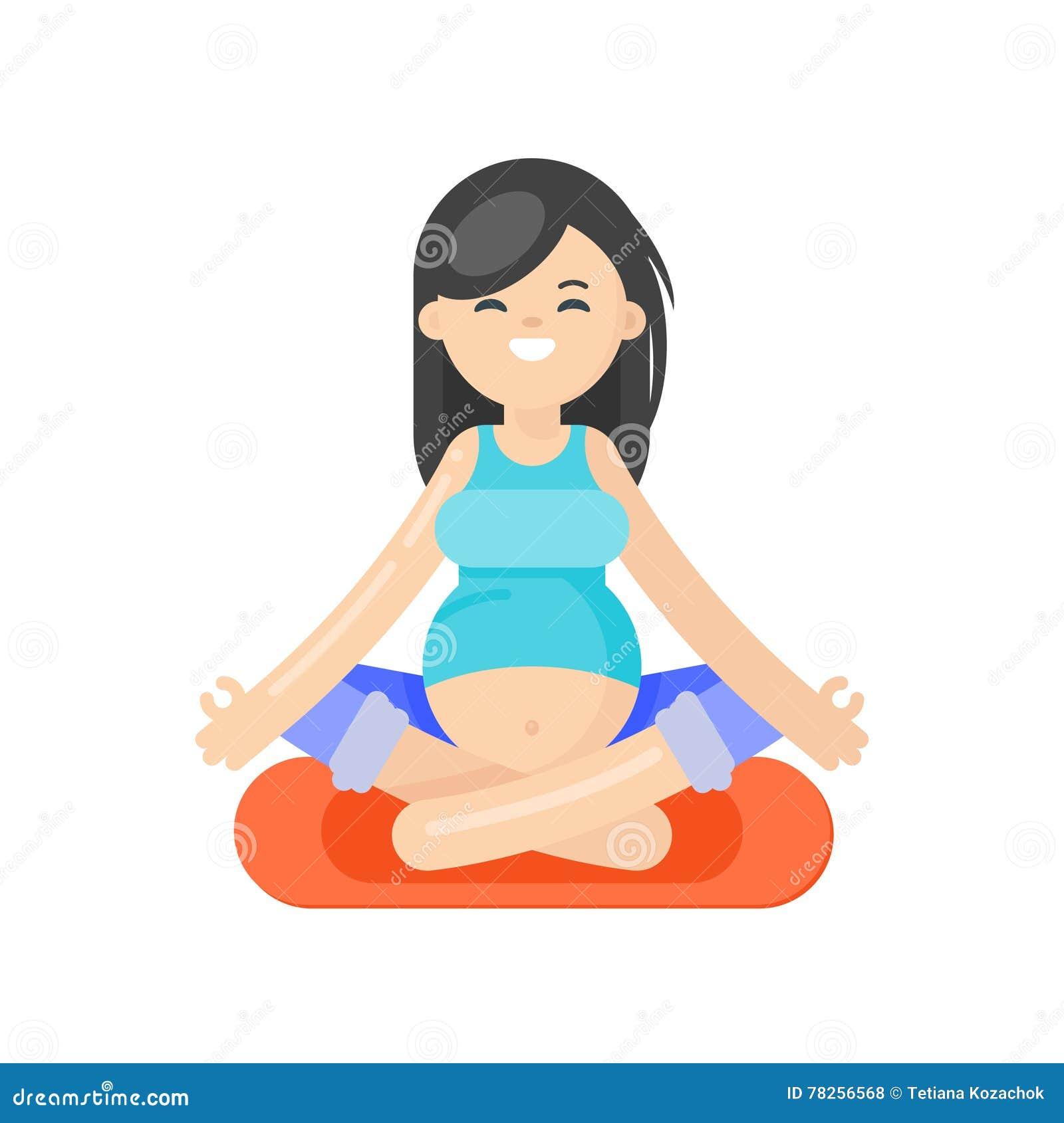 Διανυσματική επίπεδη απεικόνιση ύφους της εγκύου γυναίκας που κάνει τη γιόγκα