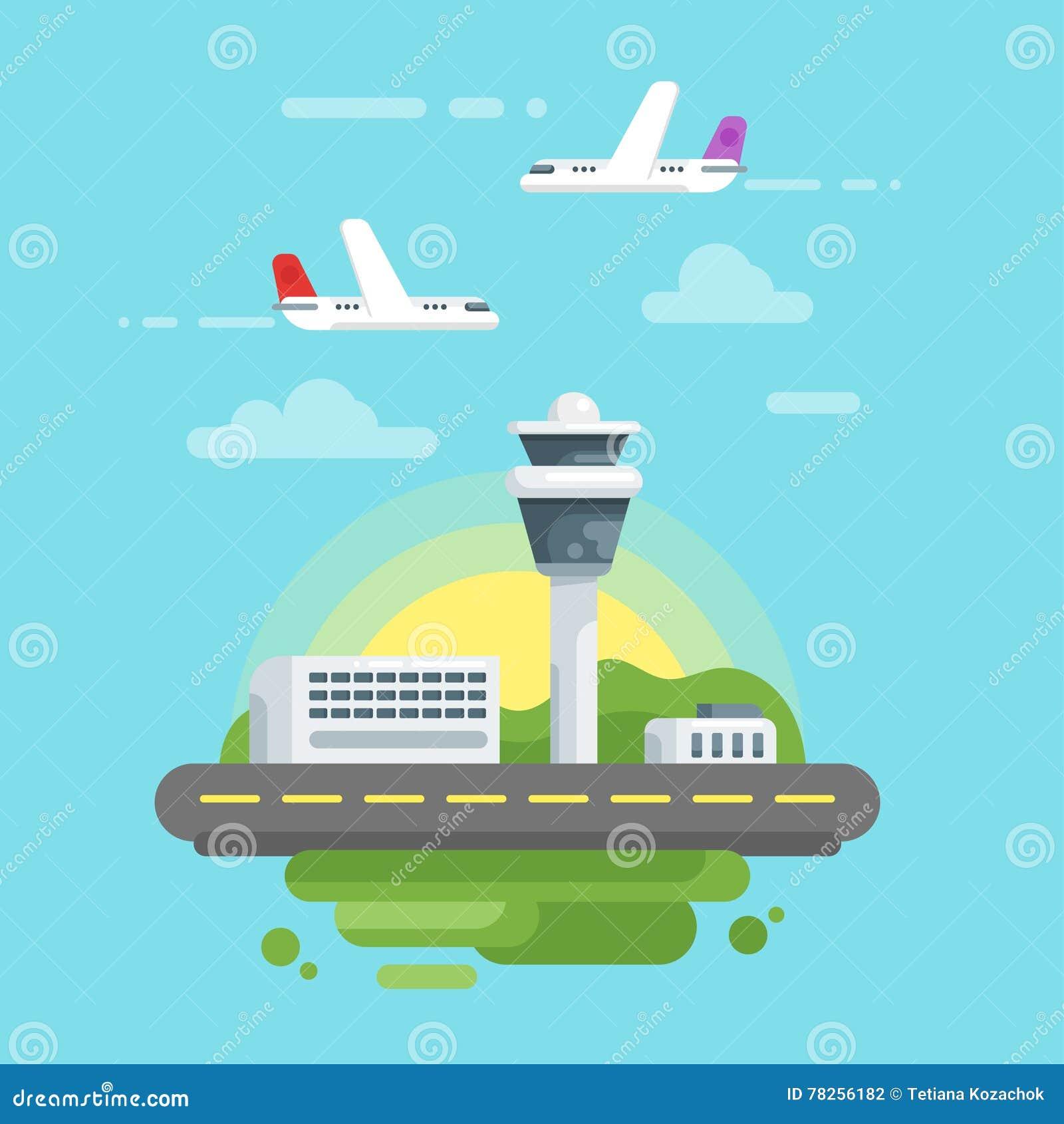 Διανυσματική επίπεδη απεικόνιση ύφους του αερολιμένα