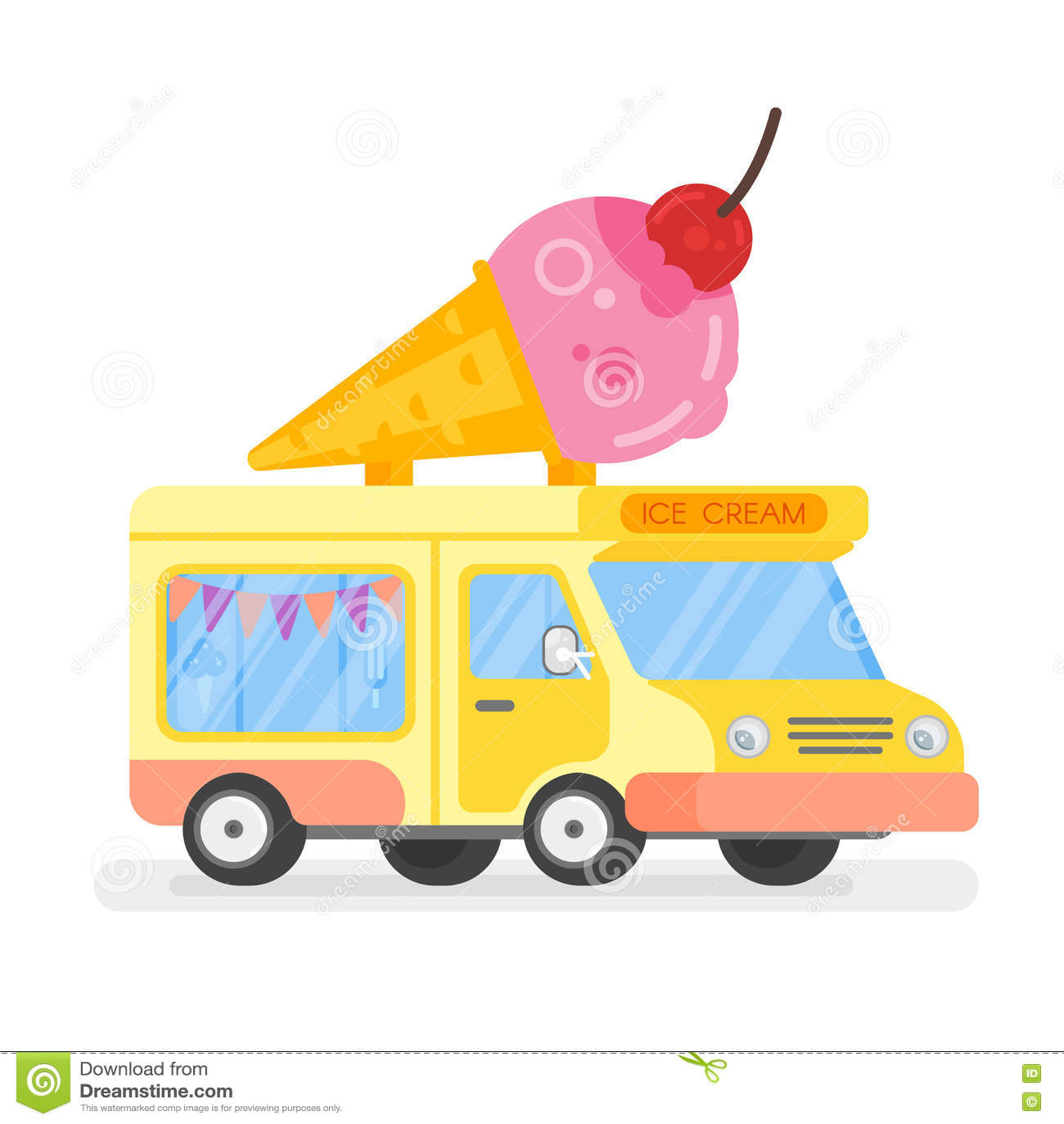 Διανυσματική επίπεδη απεικόνιση ύφους του ζωηρόχρωμου αυτοκινήτου παγωτού με το βισμούθιο