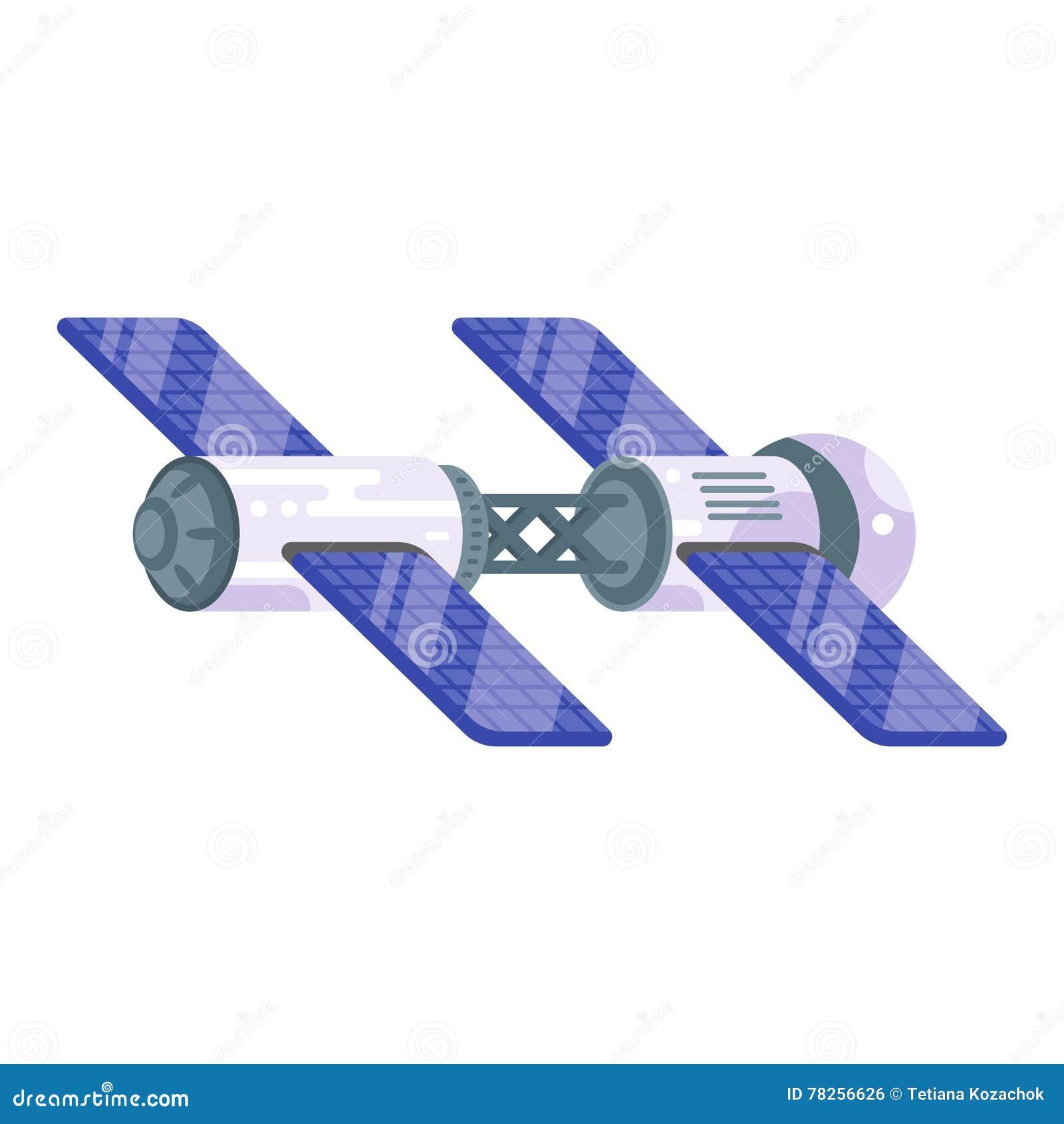 Διανυσματική επίπεδη απεικόνιση ύφους του διαστημικού σταθμού με τα ηλιακά κύτταρα