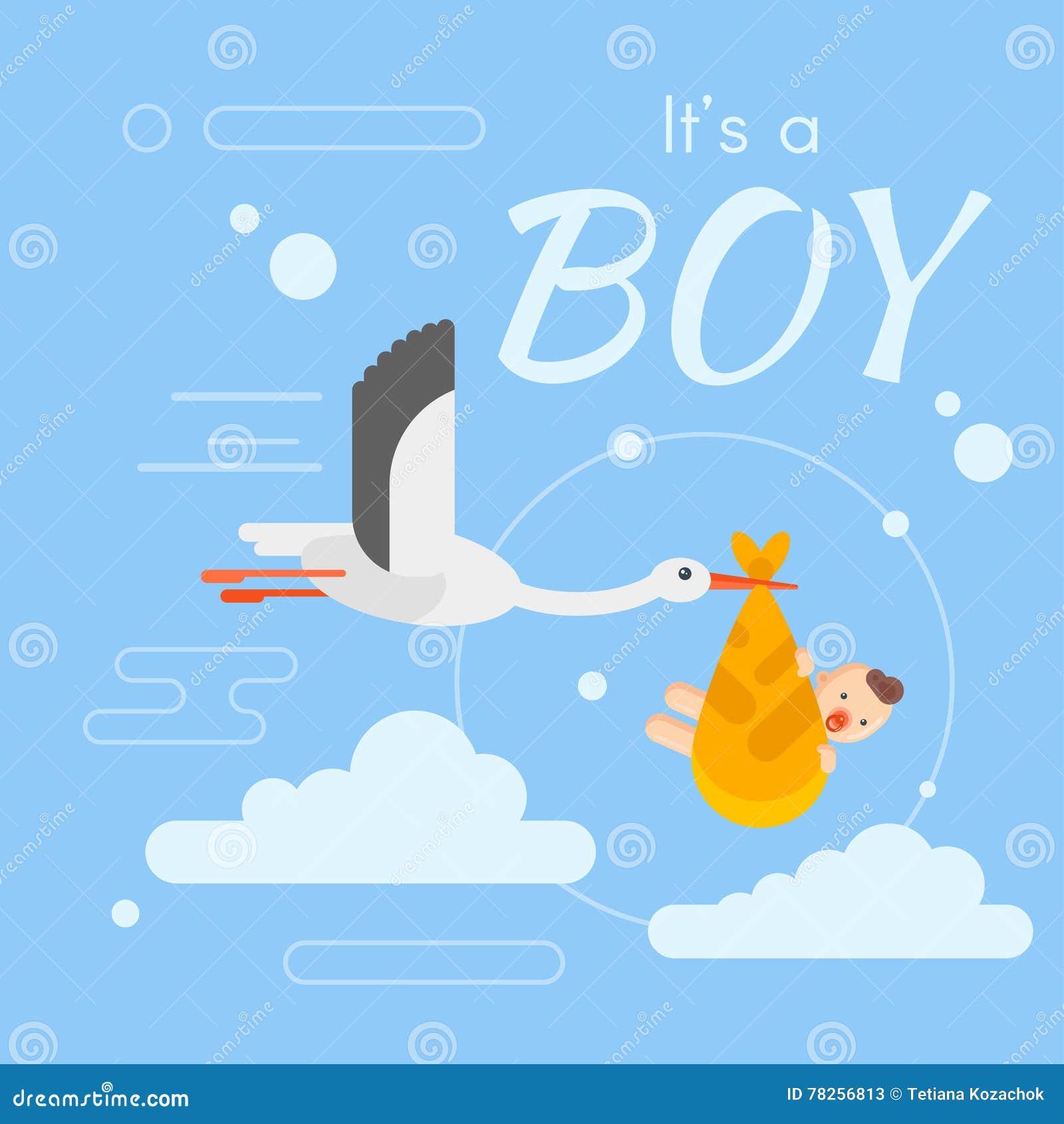 Διανυσματική επίπεδη απεικόνιση ύφους του πελαργού που φροντίζει ένα νεογέννητο μωρό