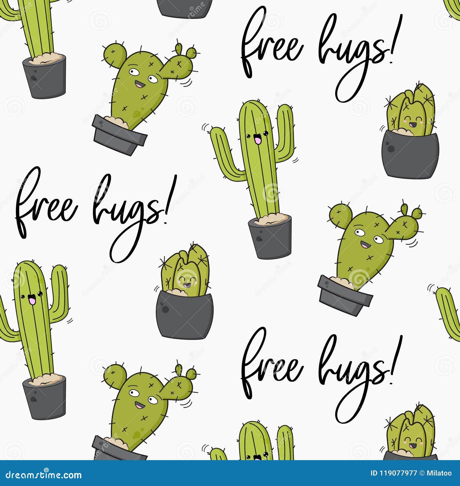 Διανυσματική ευτυχής τυπωμένη ύλη κάκτων Δροσερό σχέδιο παιδιών με τα succulents Ελεύθερη διακόσμηση κάκτων αγκαλιασμάτων Κινούμε