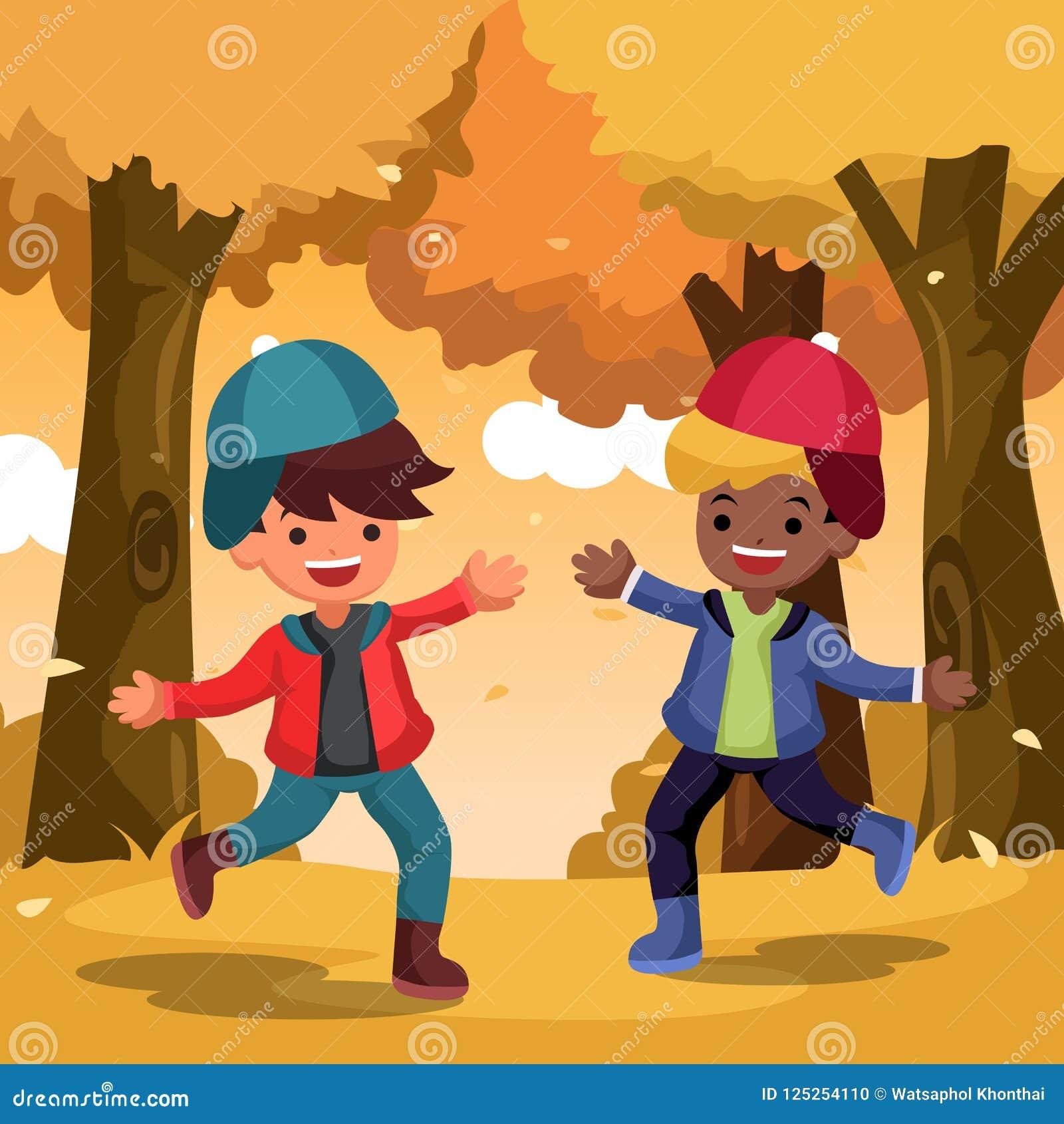 Διανυσματική ευτυχής χαριτωμένη διασκέδαση παιδιών και παιχνίδι με τα φύλλα φθινοπώρου στον κήπο