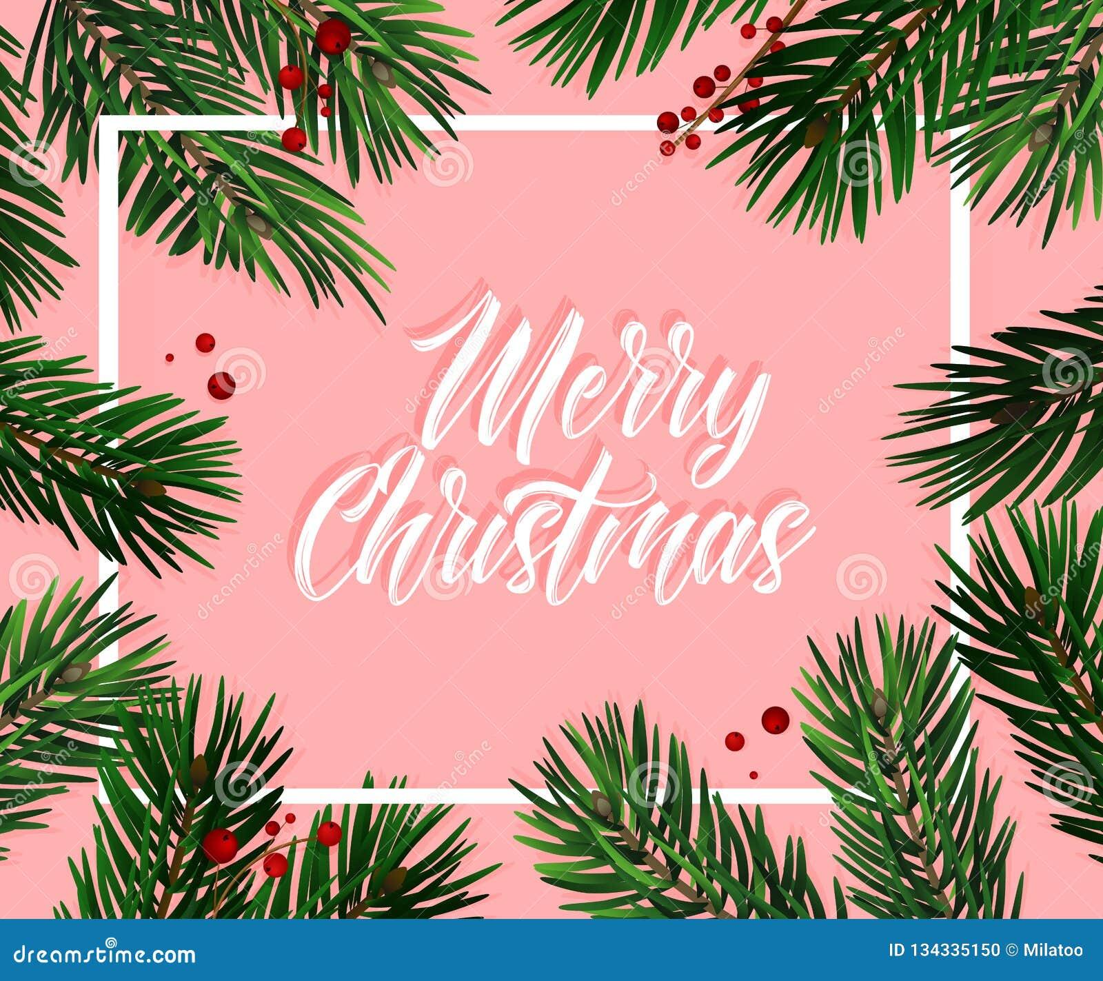 Διανυσματική ευχετήρια κάρτα έλατου χριστουγεννιάτικων δέντρων Μεγάλος για τα ιπτάμενα, αφίσες, επιγραφές ρεαλιστικά Χριστούγεννα