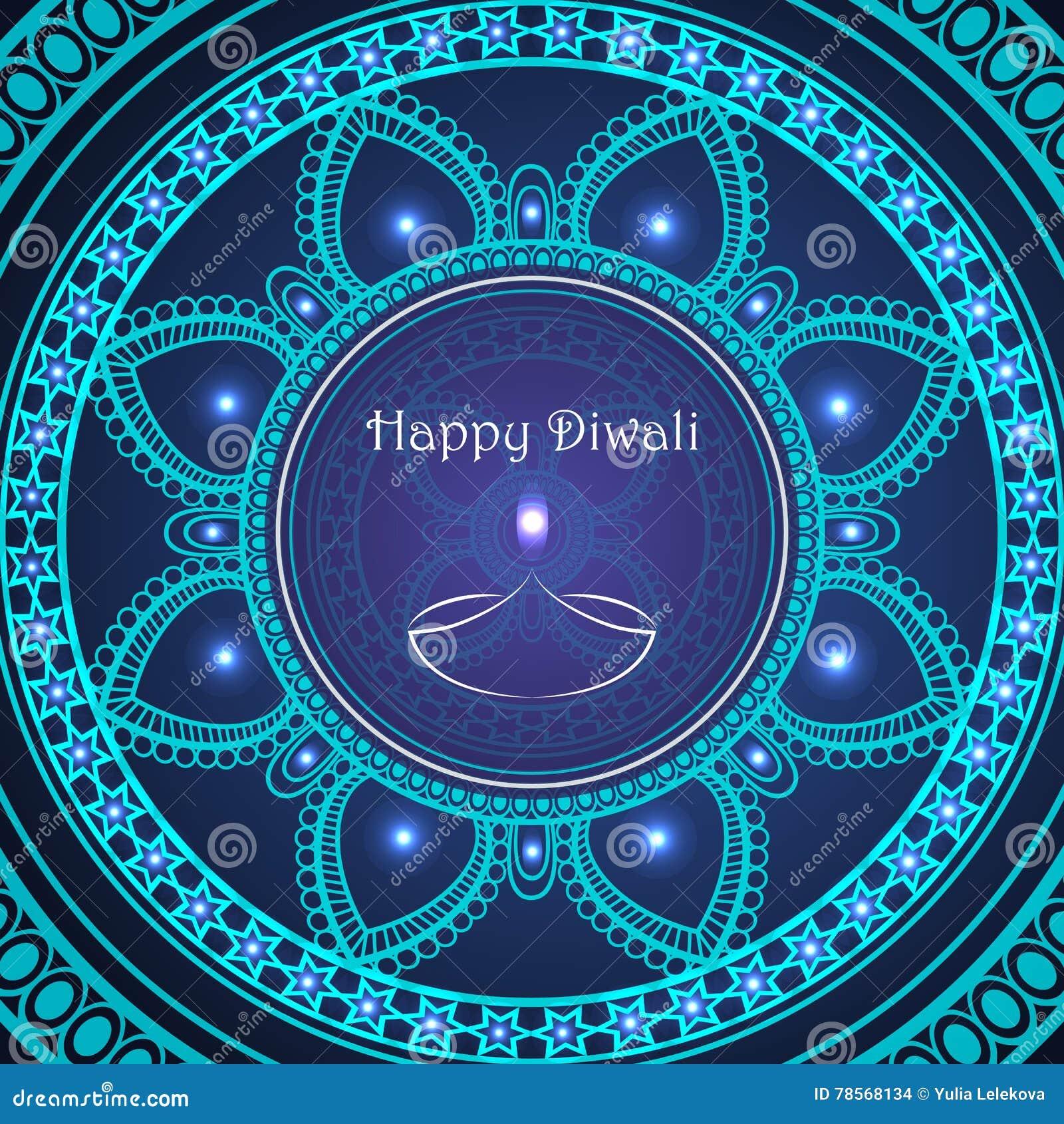 Διανυσματική ευχετήρια κάρτα στο ινδικό φεστιβάλ των φω των diwali happy
