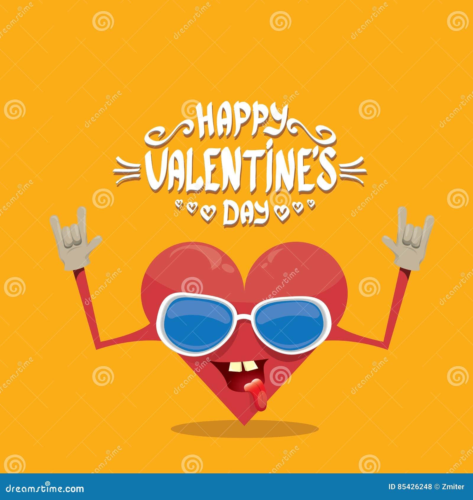 Διανυσματική κάρτα ημέρας βαλεντίνων με την καρδιά κινούμενων σχεδίων